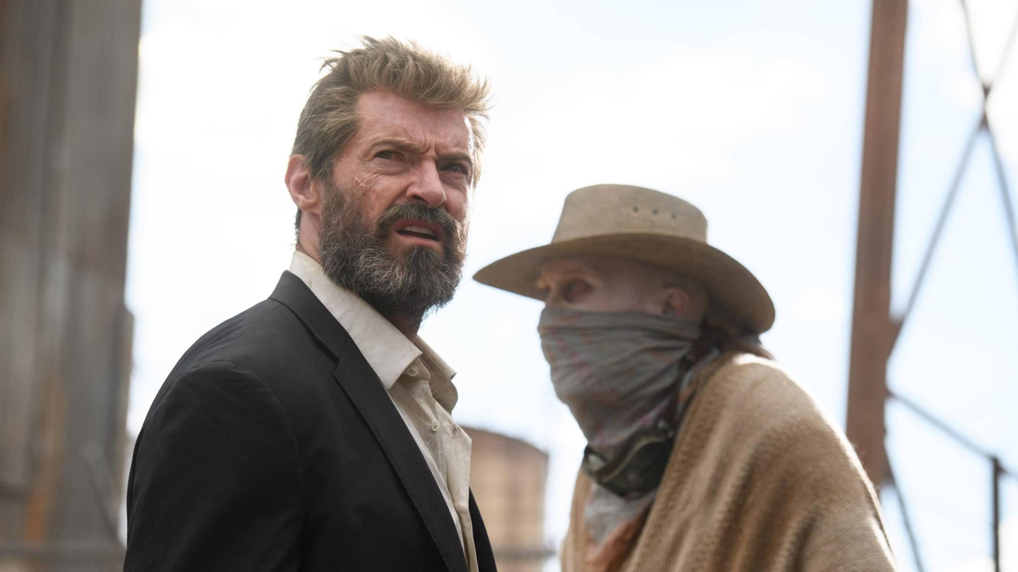 """Stattet Hugh Jackman (hier links im Bild in """"Logan"""") Deadpool einen Besuch ab?"""