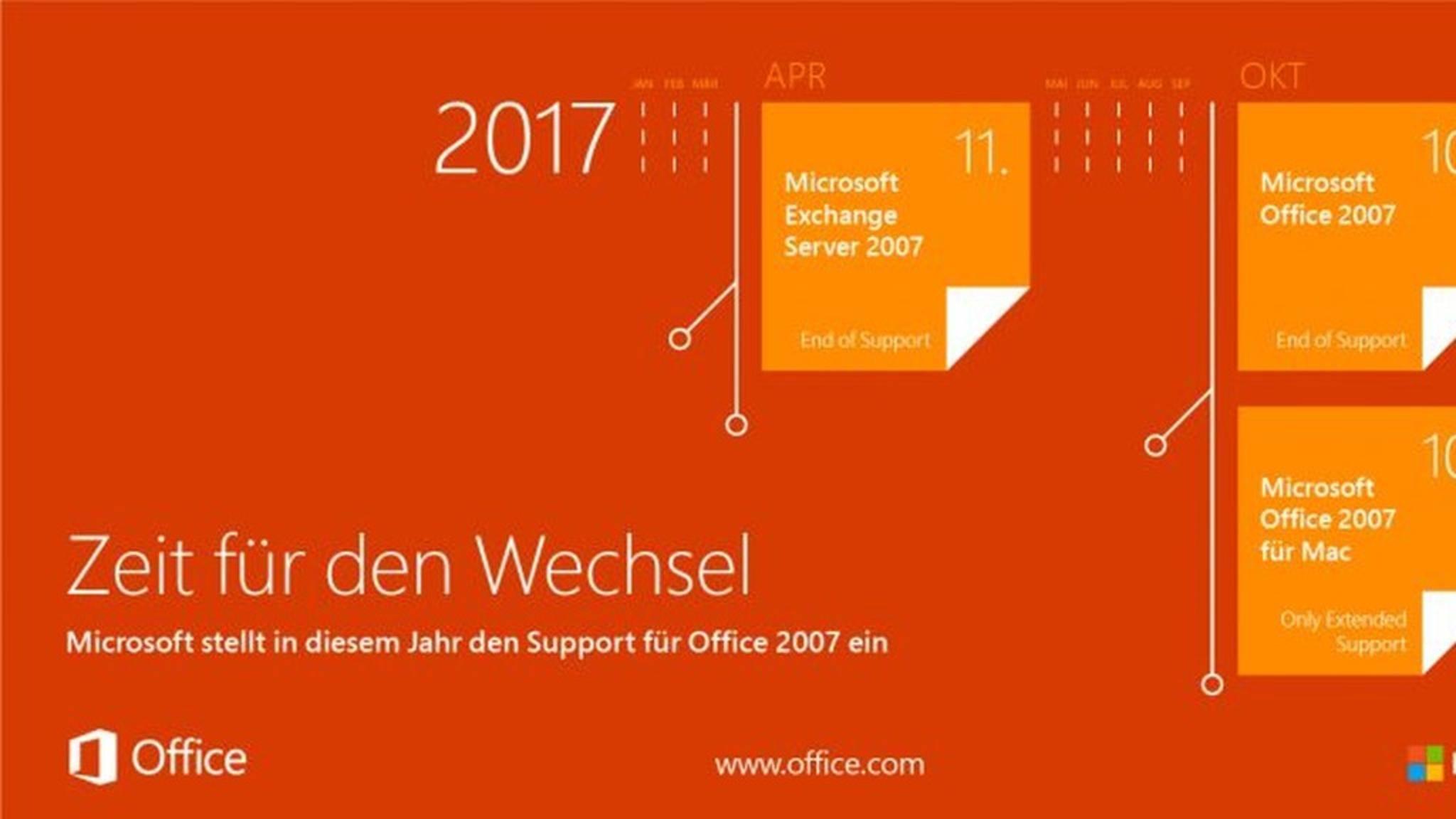 Office 2007 Support endet