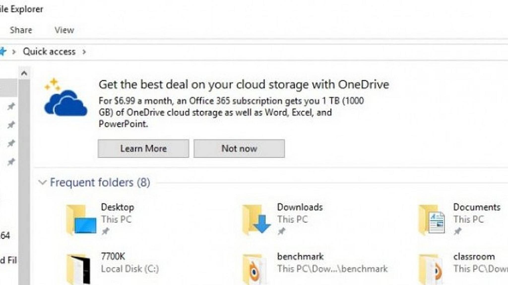 In den USA macht Microsoft bereits im Datei-Explorer von Windows 10 Werbung.