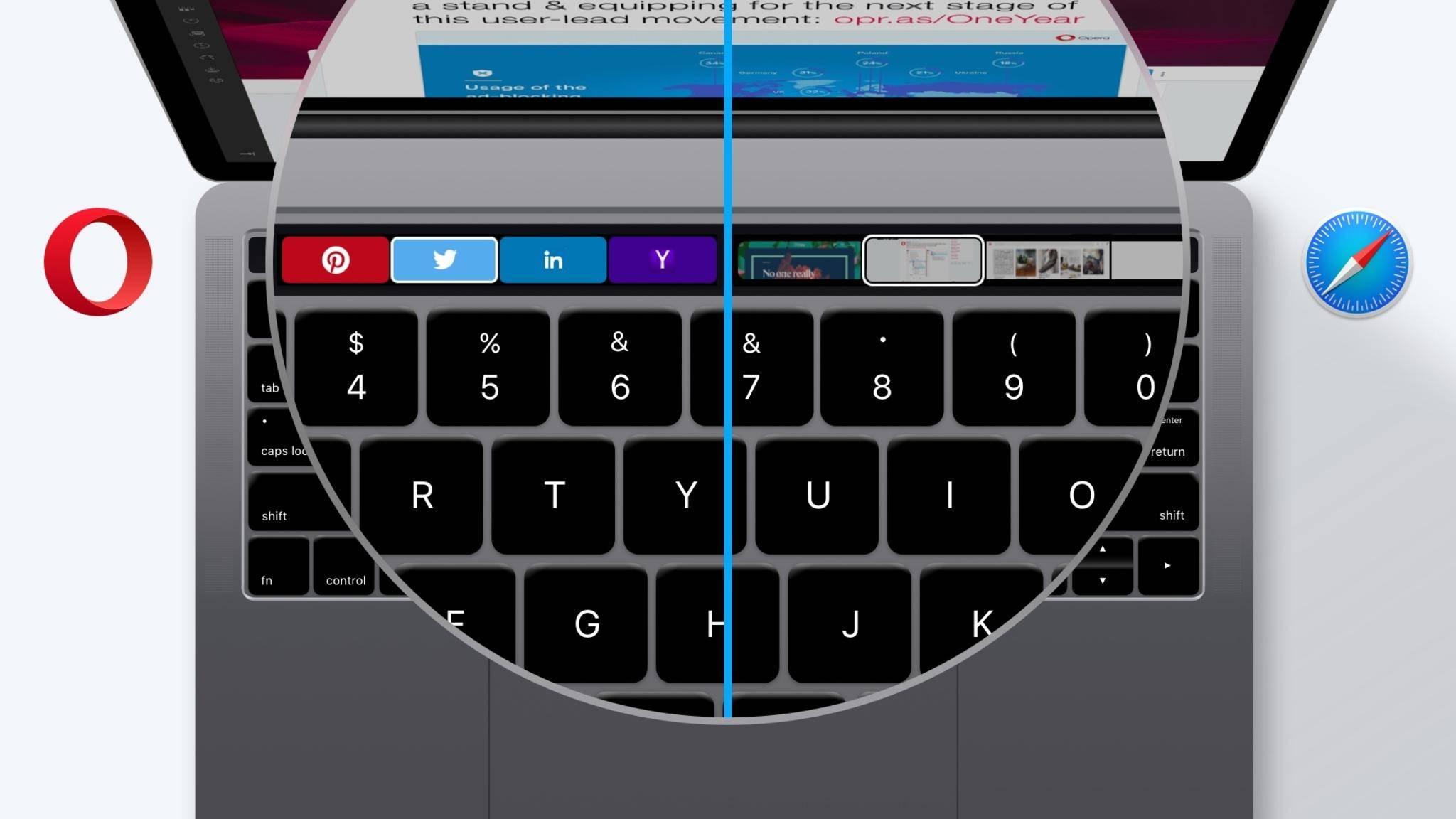 Opera unterstützt nun die Touchbar des neuen MacBook Pro.