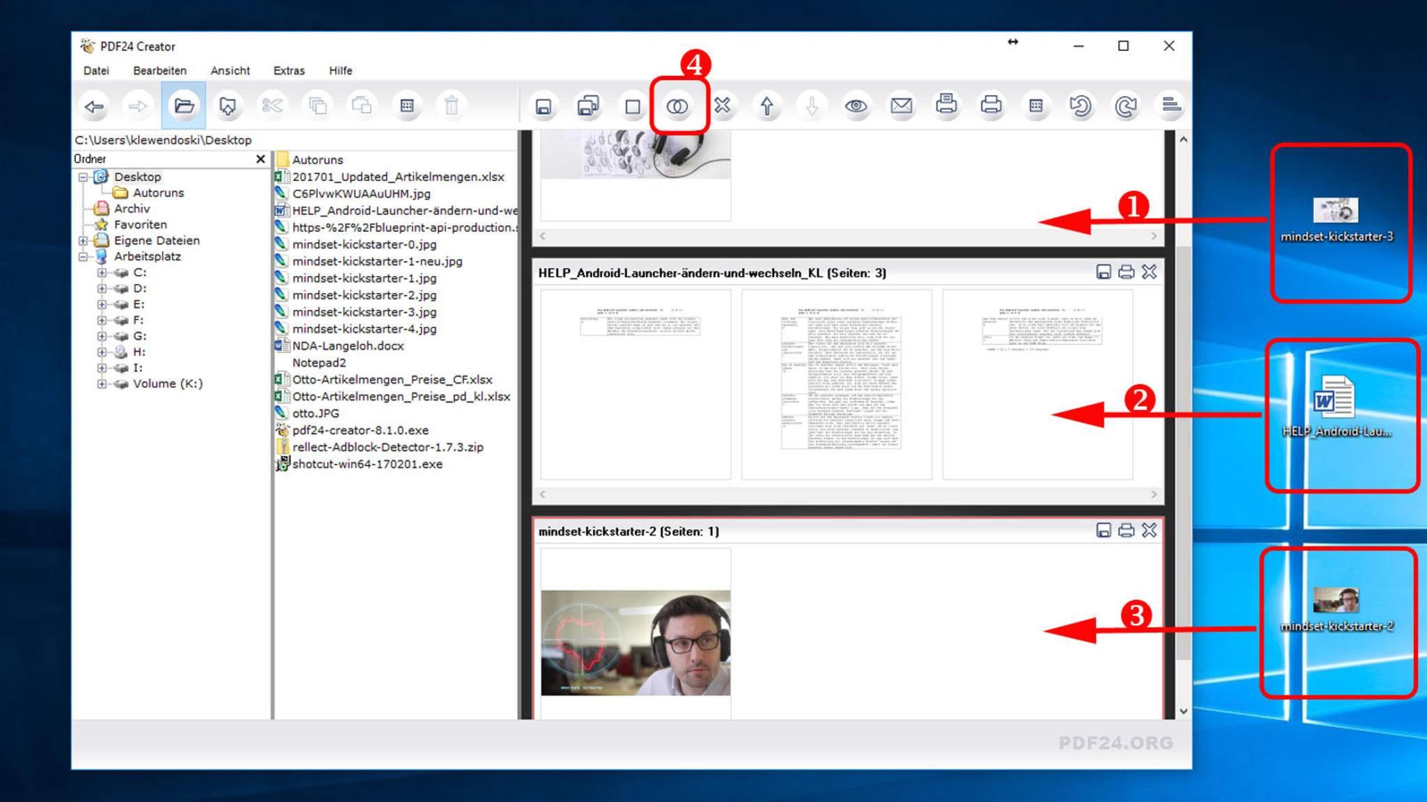 Wenn Du mehrere Dateien zu einem PDF-Dokument verschmelzen willst, musst Du diese nacheinander (1),(2) und (3) auf das Fenster ziehen und dann auf das Symbol mit den Kreisen klicken (4).