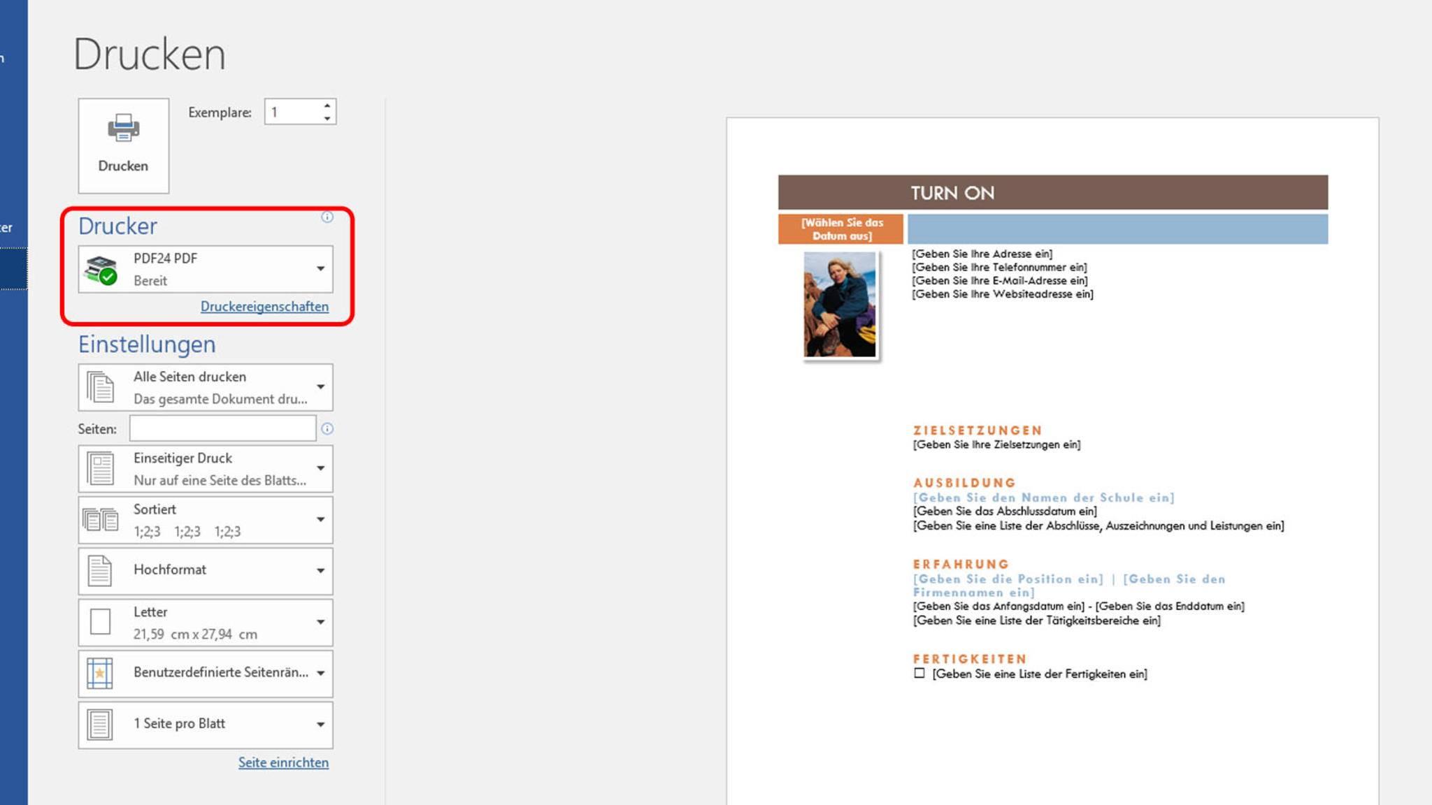 Auch in Word kannst Du PDFs erstellen, indem Du das Programm als Drucker auswählst.