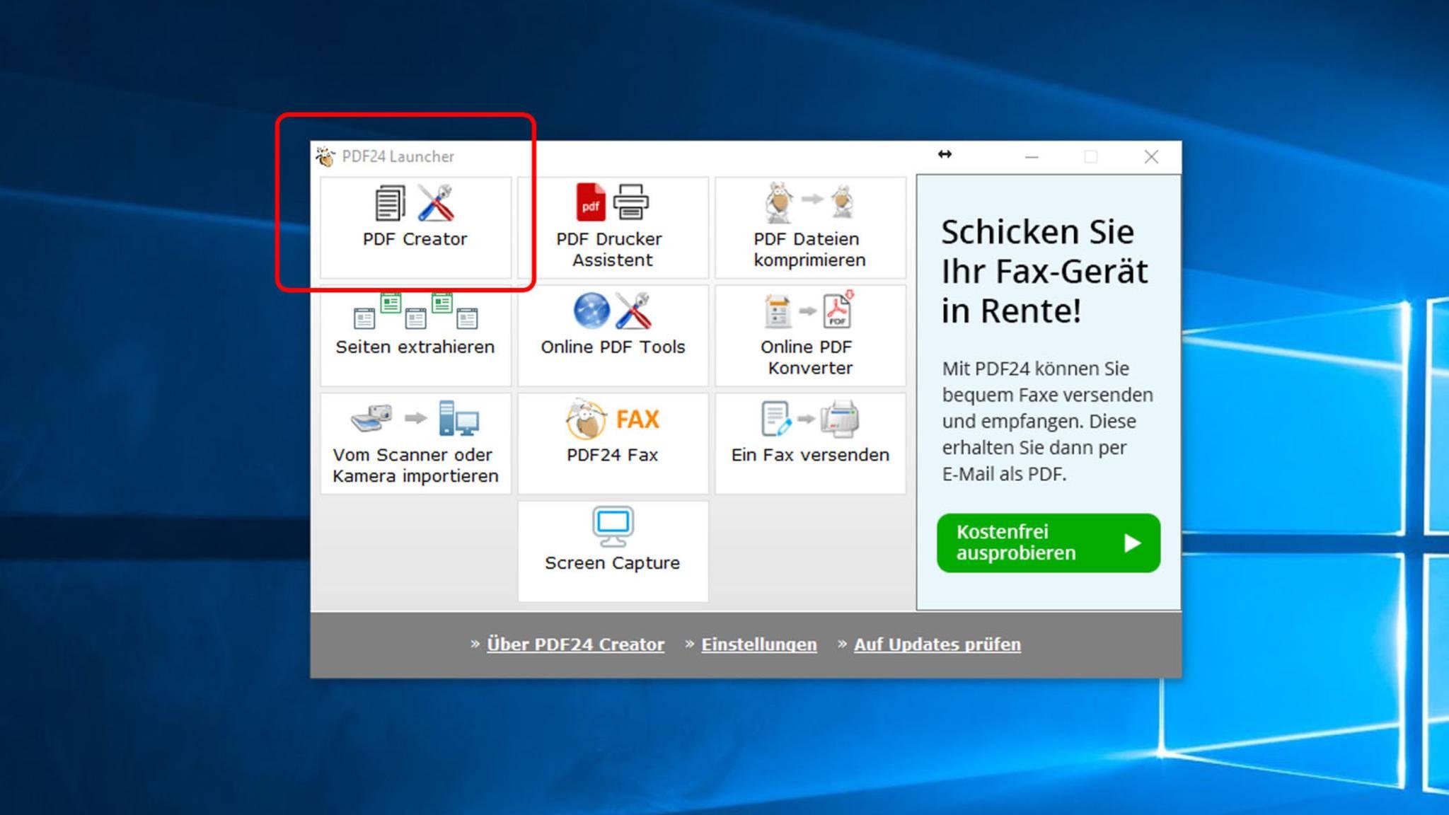 """Im Startfenster des Programms klickst Du auf """"PDF Creator"""" ..."""