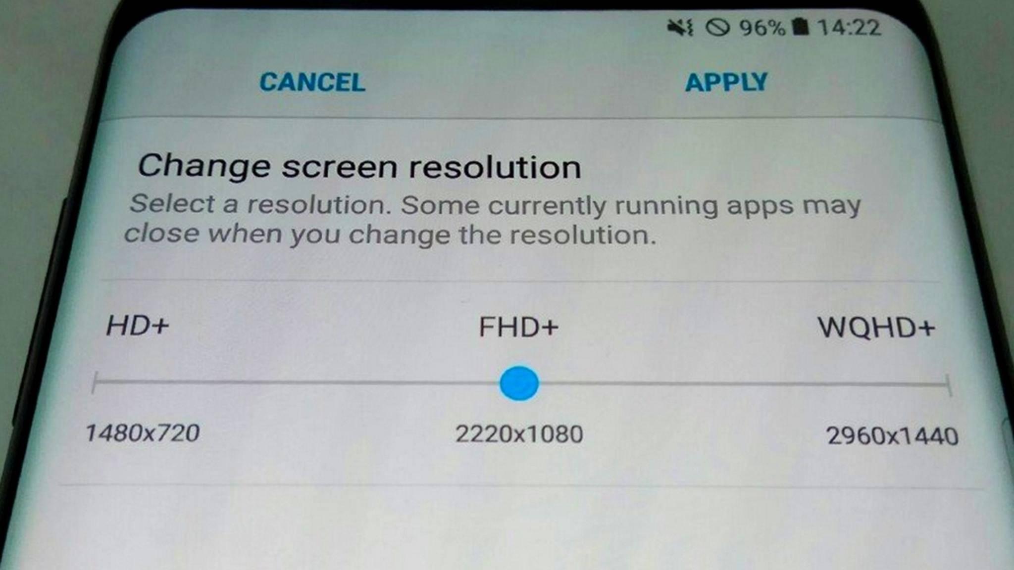 Beim Samsung Galaxy S8 soll sich die Auflösung manuell einstellen lassen.