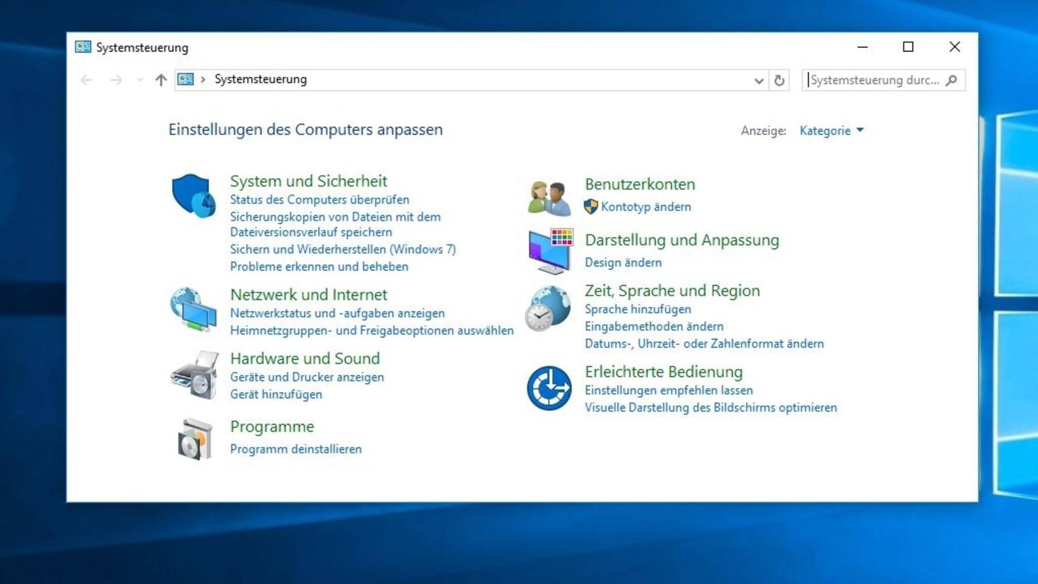 Über die Windows-Suche lässt sich die Systemsteuerung dennoch weiterhin aufrufen.