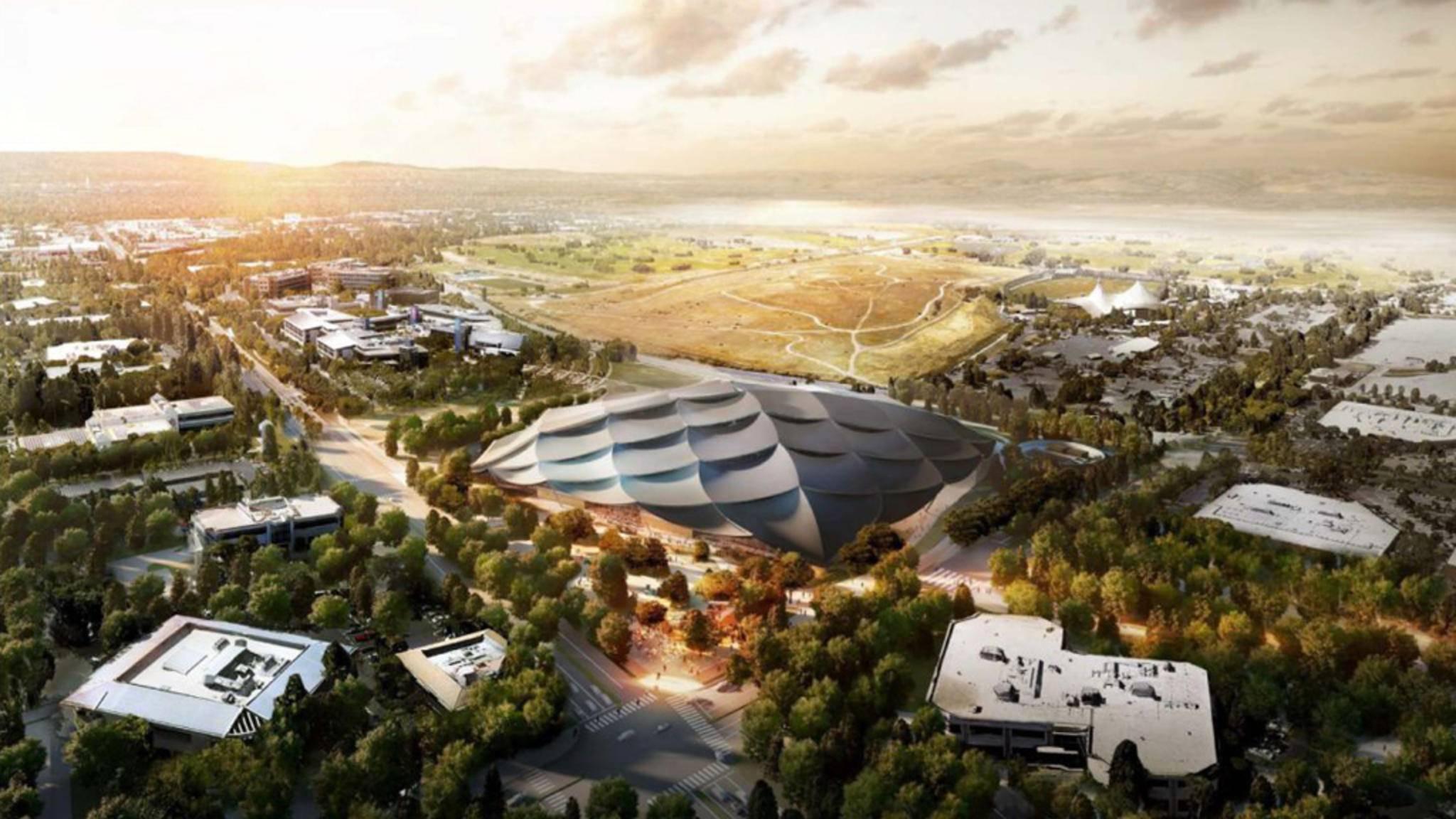 Googles Tent Campus erinnert an ein futuristisches Zirkuszelt.