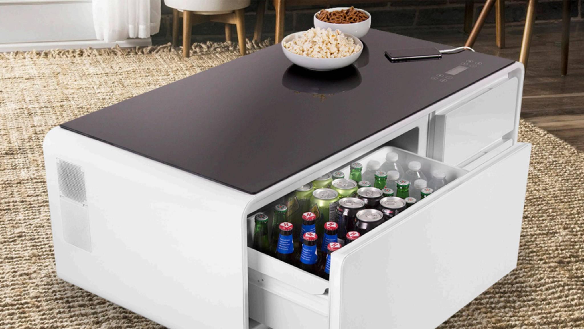 sobro ist beleuchteter tisch lautsprecher k hlschrank in einem. Black Bedroom Furniture Sets. Home Design Ideas