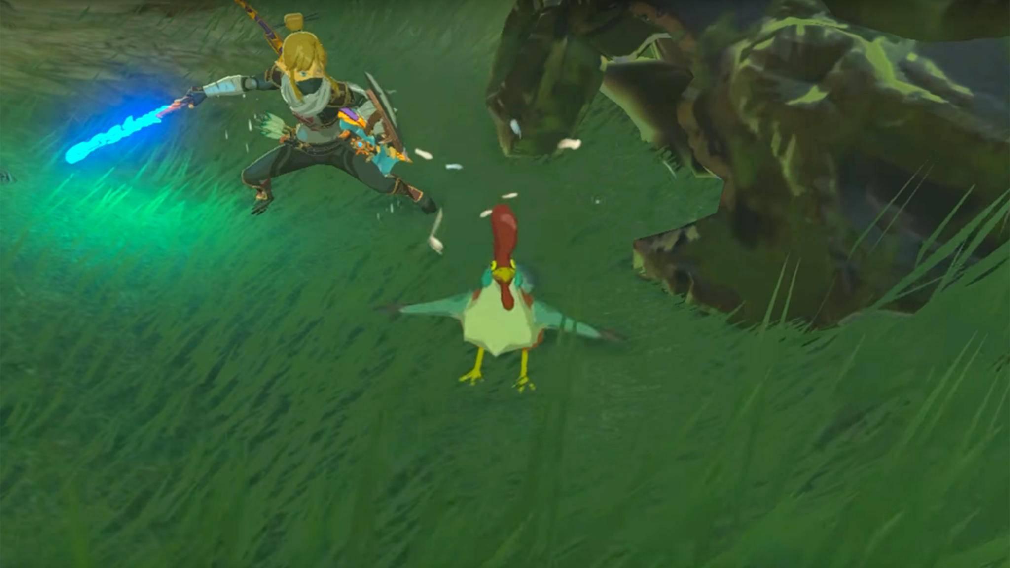 """Alarm! Wer in """"Legend of Zelda: Breath of the Wild"""" ein Huhn angreift, kriegt Ärger mit seinen Artgenossen. Das gilt für Link, aber auch für seine Gegner..."""