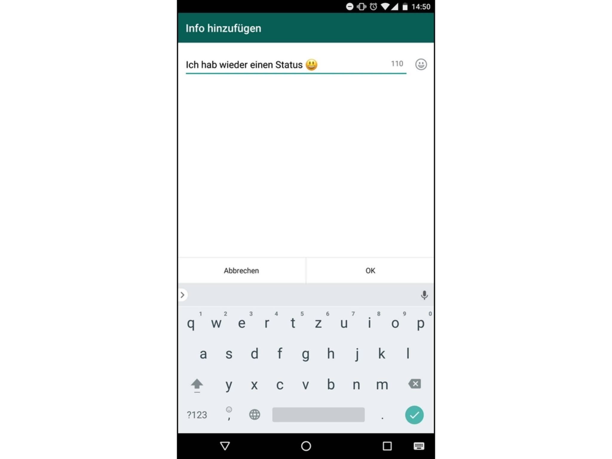 alten whatsapp status in android wieder aktivieren so geht 39 s. Black Bedroom Furniture Sets. Home Design Ideas