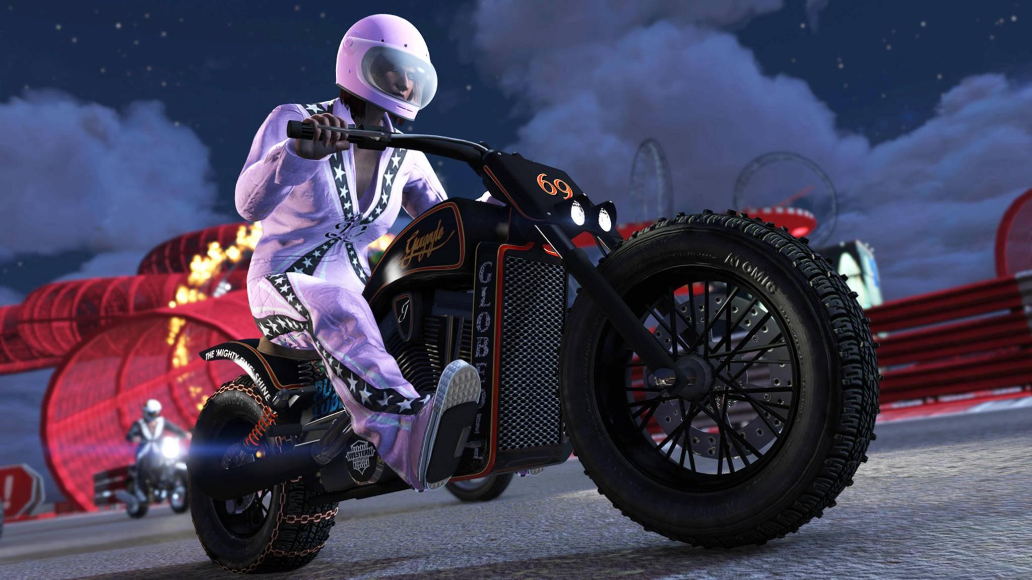 Den rosa Rennanzug erhält jeder, der sich während der Zeitdauer der Stunt-Rennen bei GTA Online einloggt.