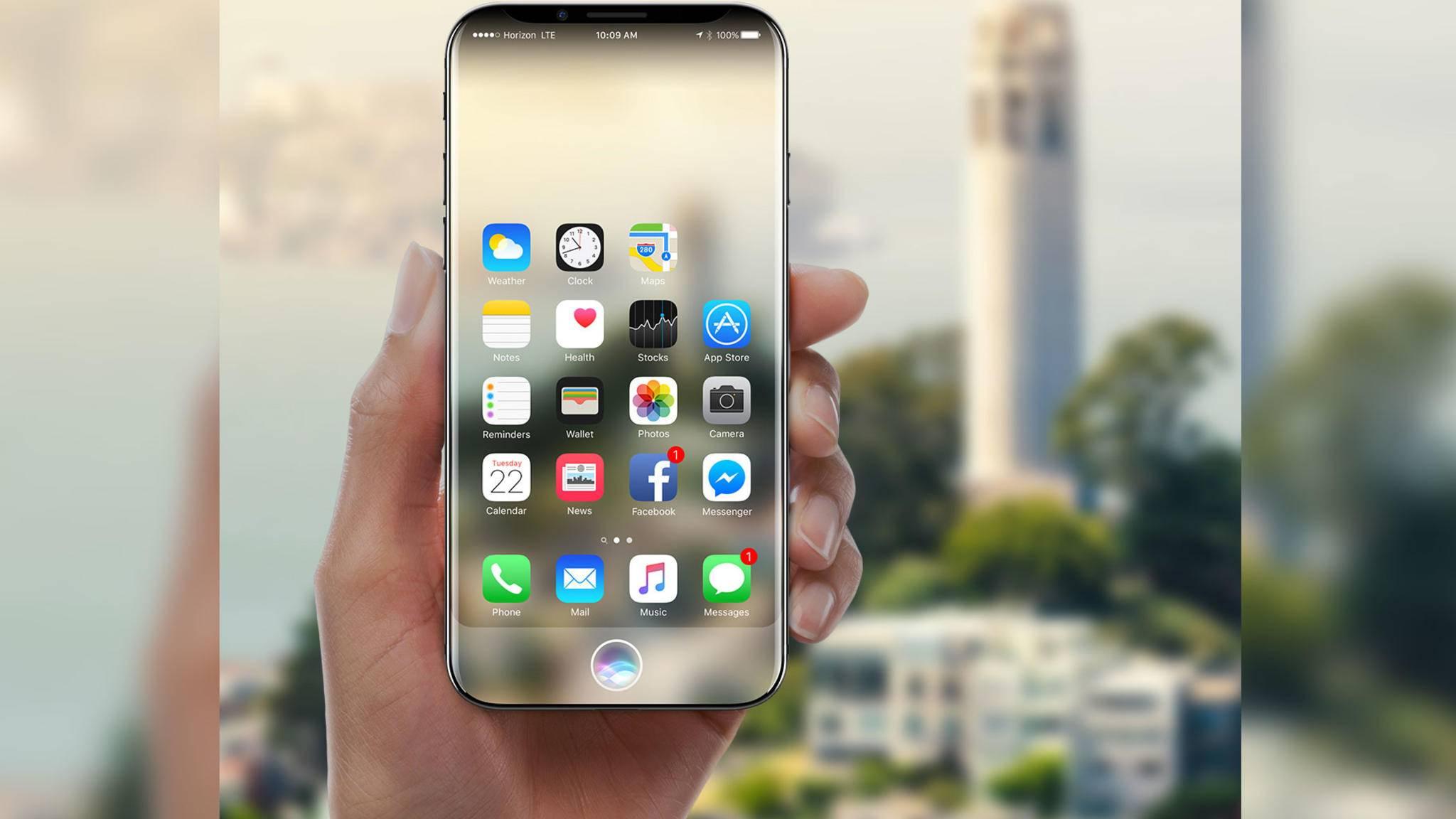 Das iPhone 8 soll ein randloses Display ohne physischen Home-Button haben.