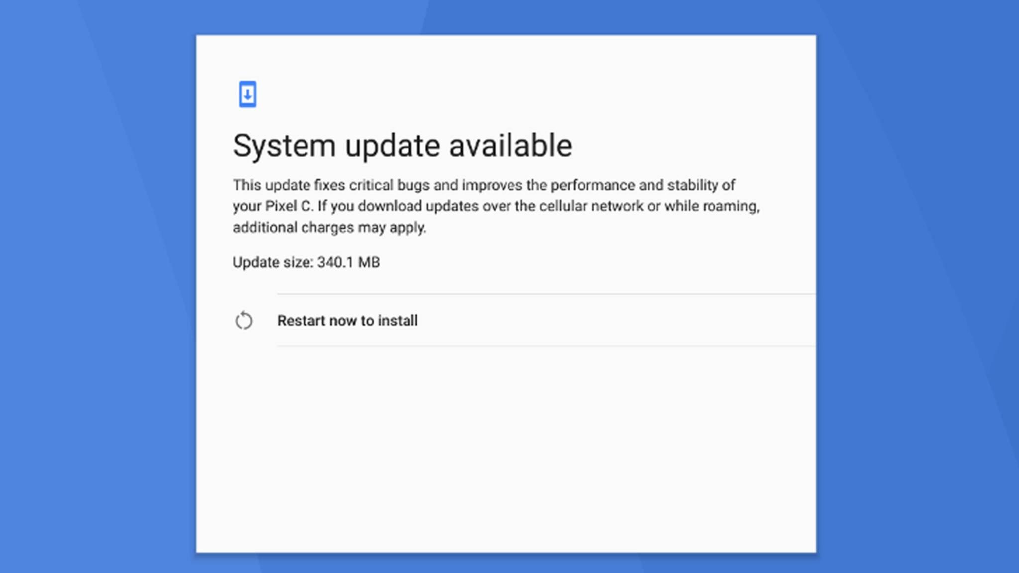 Das Pixel C gehört zu den ersten Geräten, für die Android 7.1.2 bereitsteht.