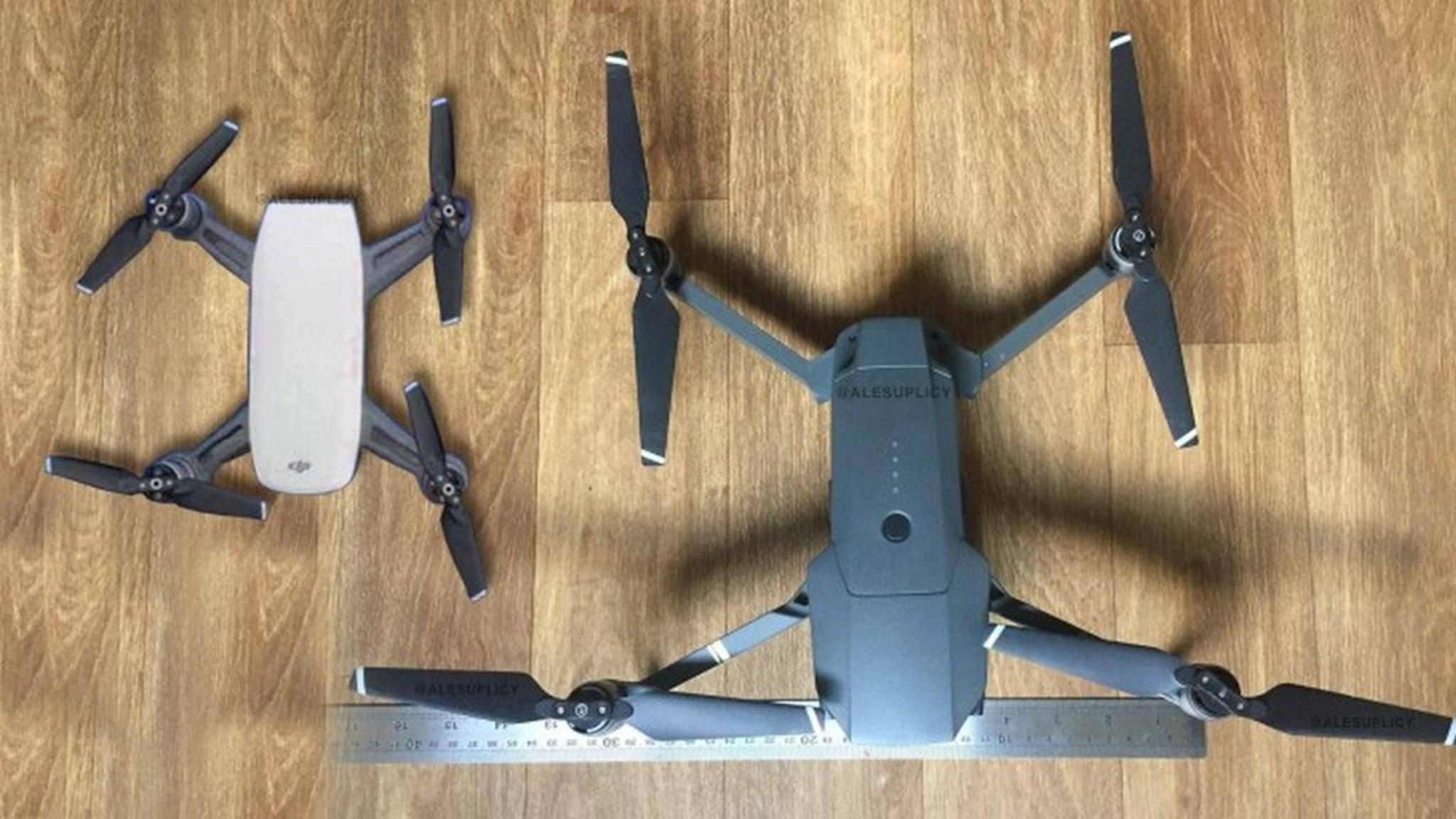 Die DJI Spark-Drohne (links) ist noch kleiner als die Mavic Pro (rechts).