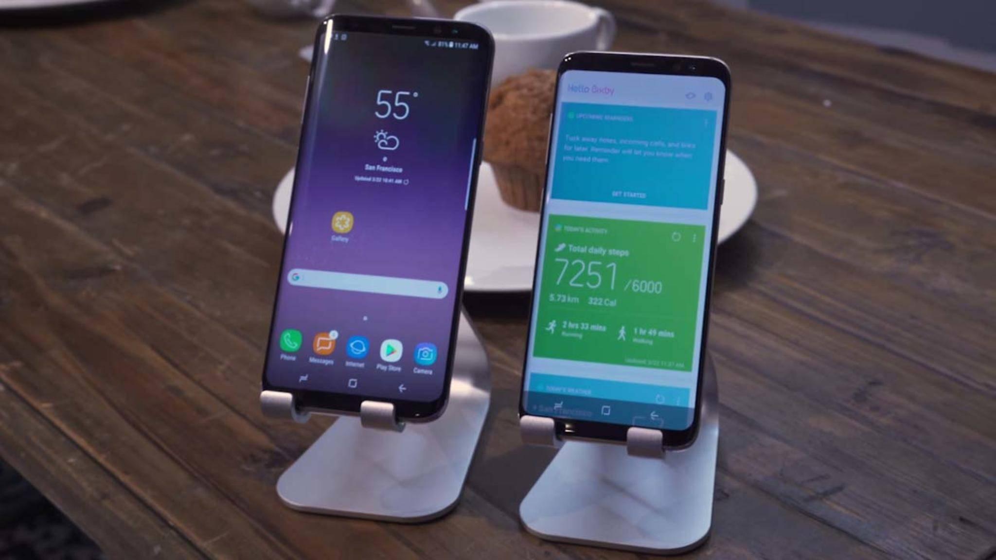 Die App-Icons sind beim Galaxy S8 minimalistischer designt und die Navigationsleiste auf dem Display ist neu.