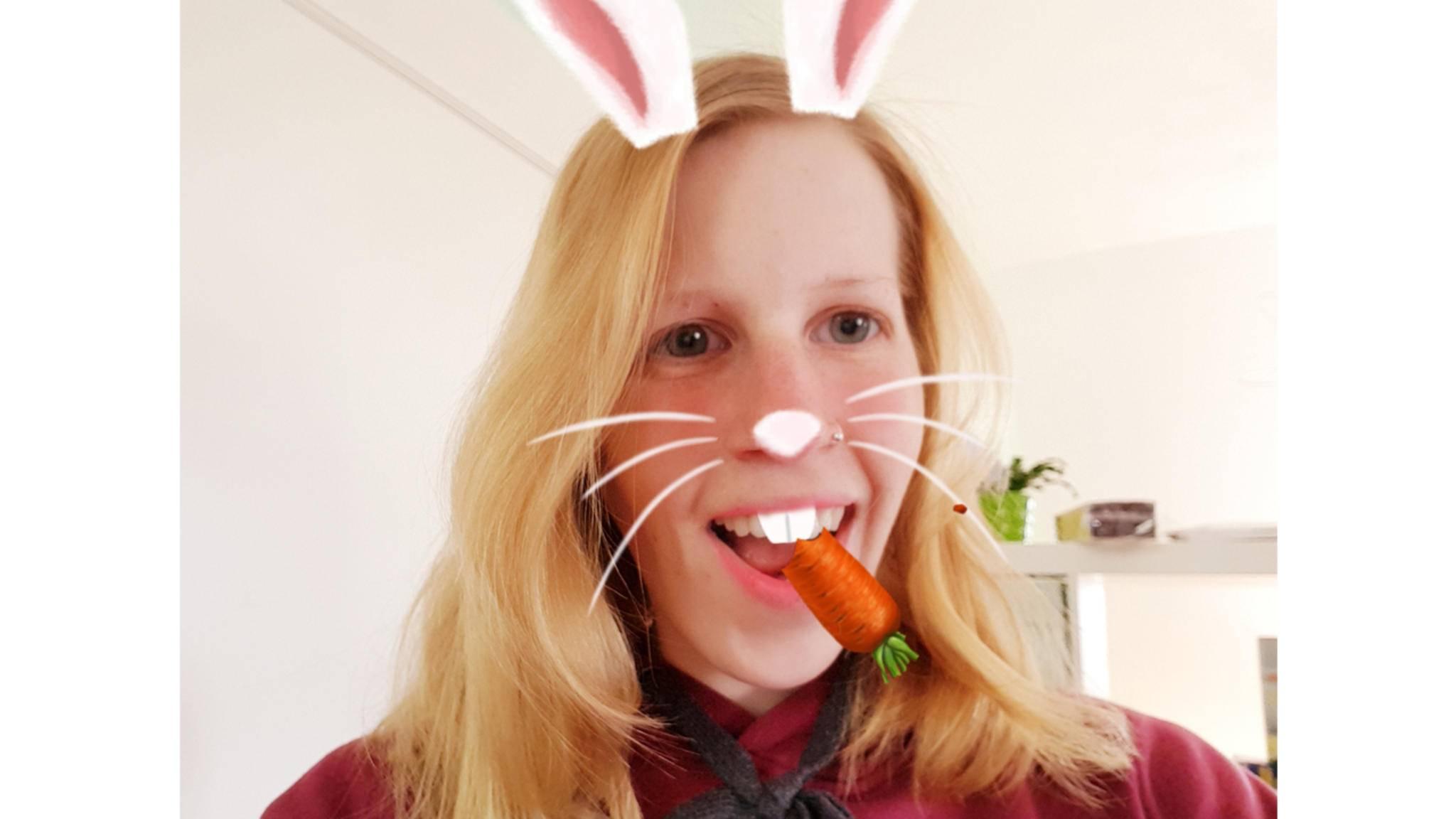Passend zu Ostern: der Hasen-Filter für Selfies mit dem Galaxy S8 Plus.