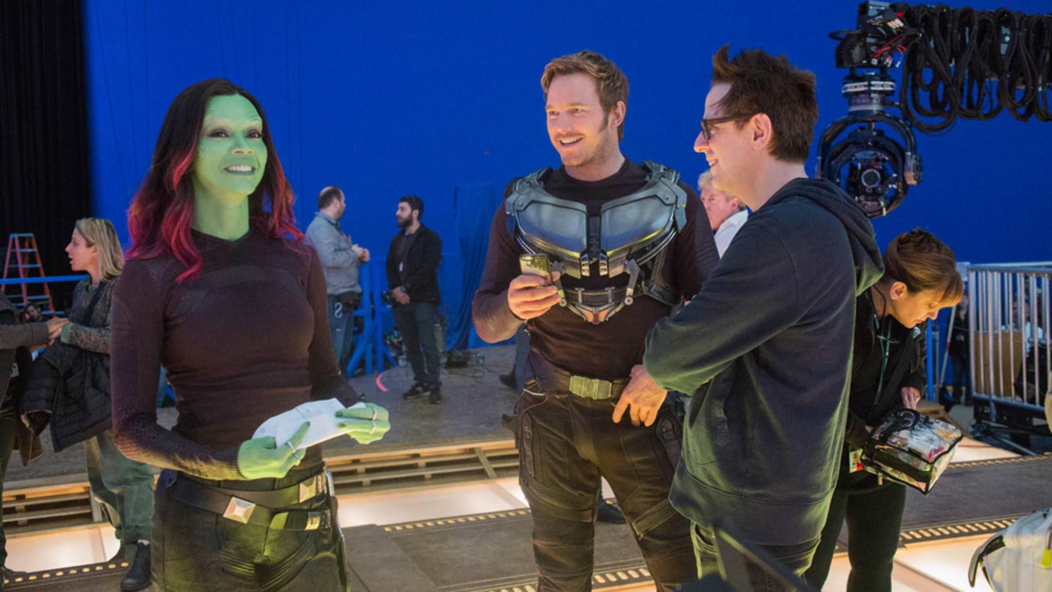 """Große Teile der """"Guardians of the Galaxy""""-Filme wurden vor einem Bluescreen gedreht. Ein Greenscreen wäre in diesem Fall auch suboptimal gewesen ..."""