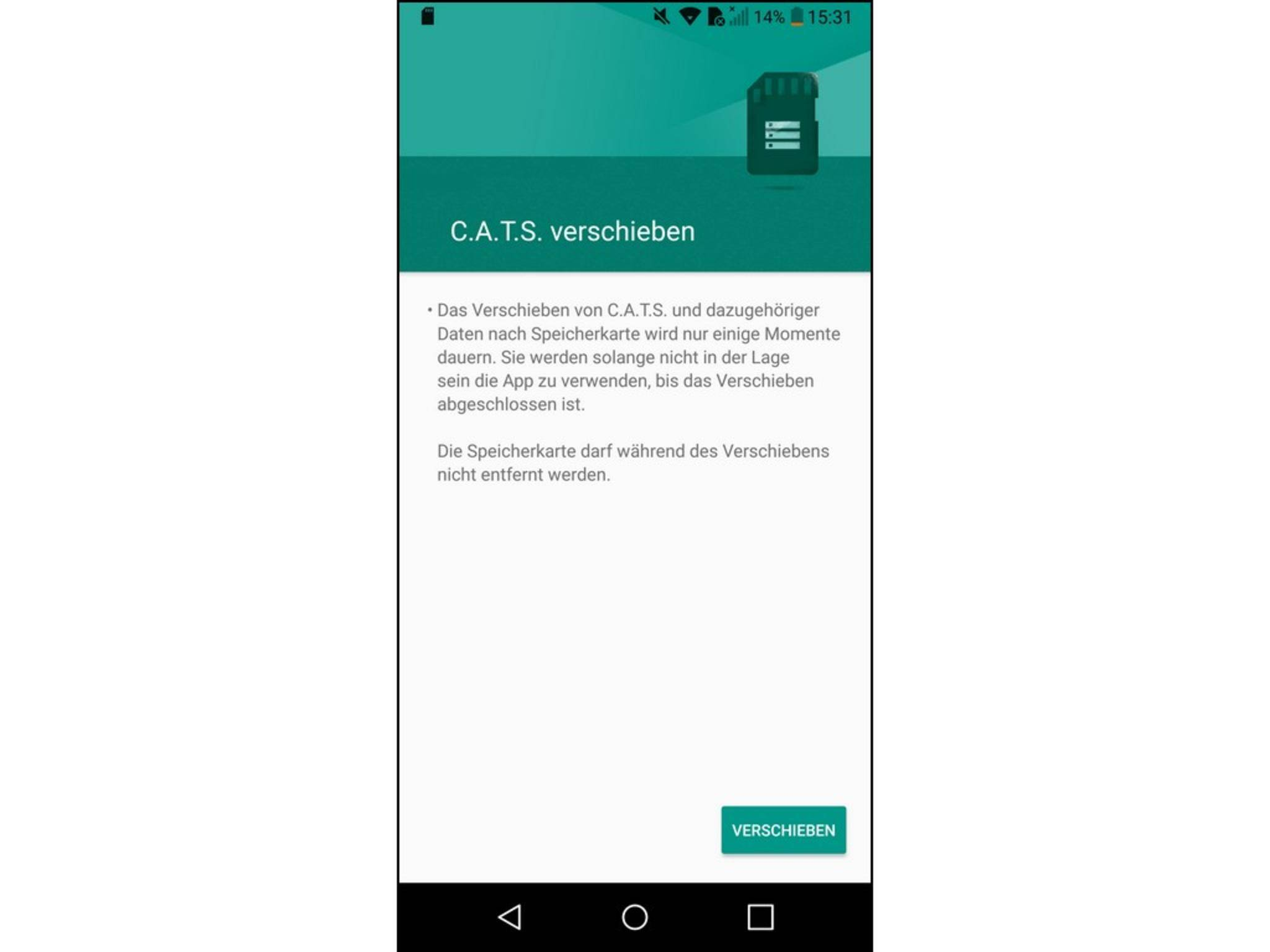 Nun kannst Du Die App auf die microSD-Karte verschieben.