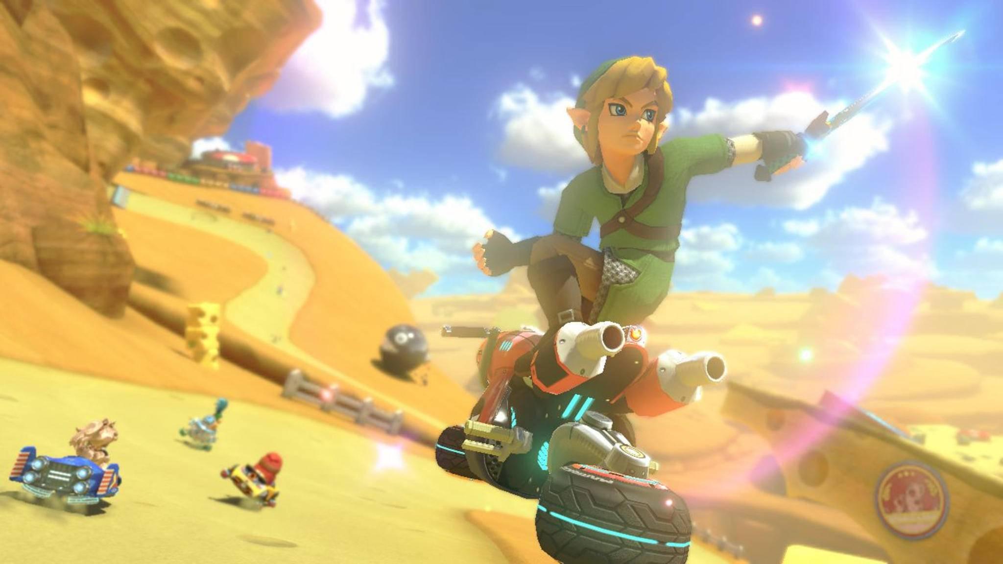"""Die Kart-Designs in """"Mario Kart 8 Deluxe"""" reichen von klassisch bis skurril. Ein goldenes Kart ist da noch eines der gewöhnlicheren Modelle."""