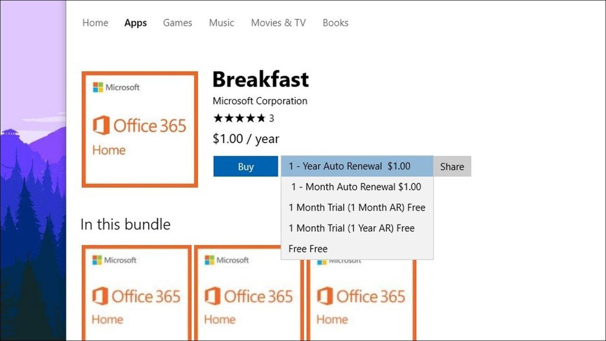 Microsoft möchte offenbar die Office 365-Abos im Windows Store anbieten.