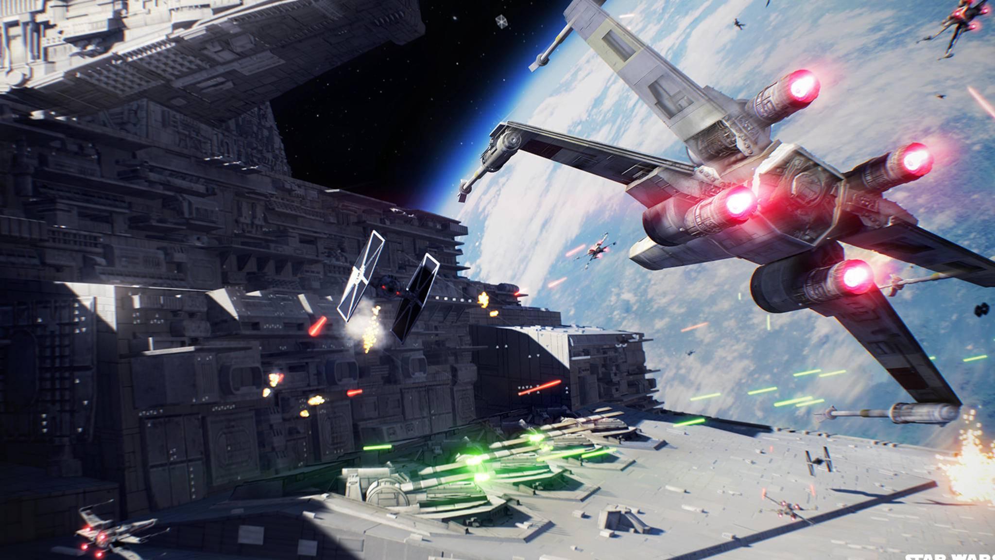 """Der Klassiker """"X-Wing vs. Tie-Fighter"""" lässt sich in """"Star Wars: Battlefront 2"""" endlich wieder in voller Schönheit nachspielen."""