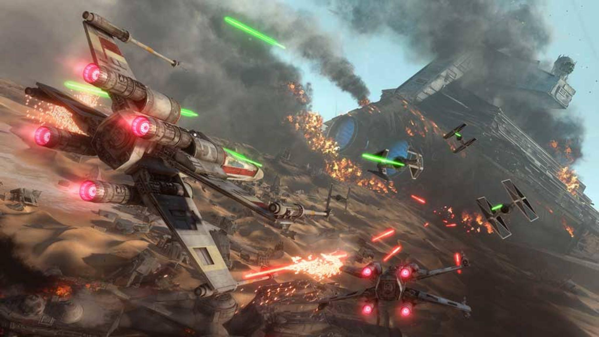 """Gefechte in Raumjägern dürften auch in """"Star Wars: Battlefront 2"""" wieder zum Repertoire gehören."""