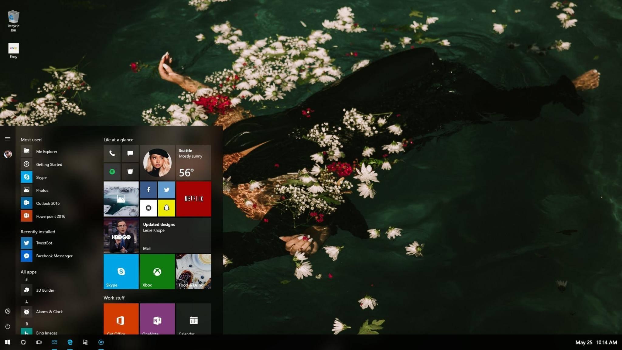Das kommende Windows 10-Startmenü bietet neue Transparenzeffekte.