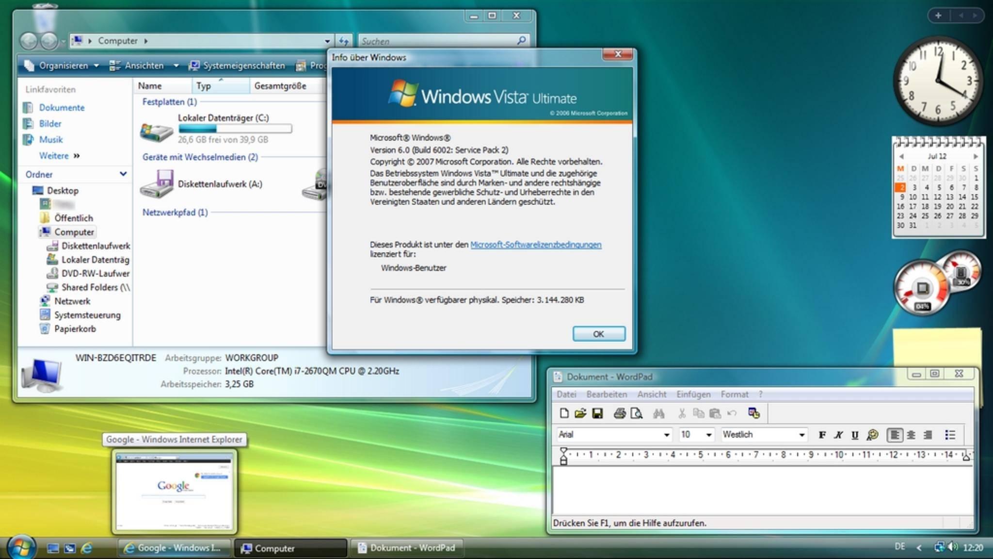 Das Interface von Windows Vista beanspruchte die Hardware übermäßig.
