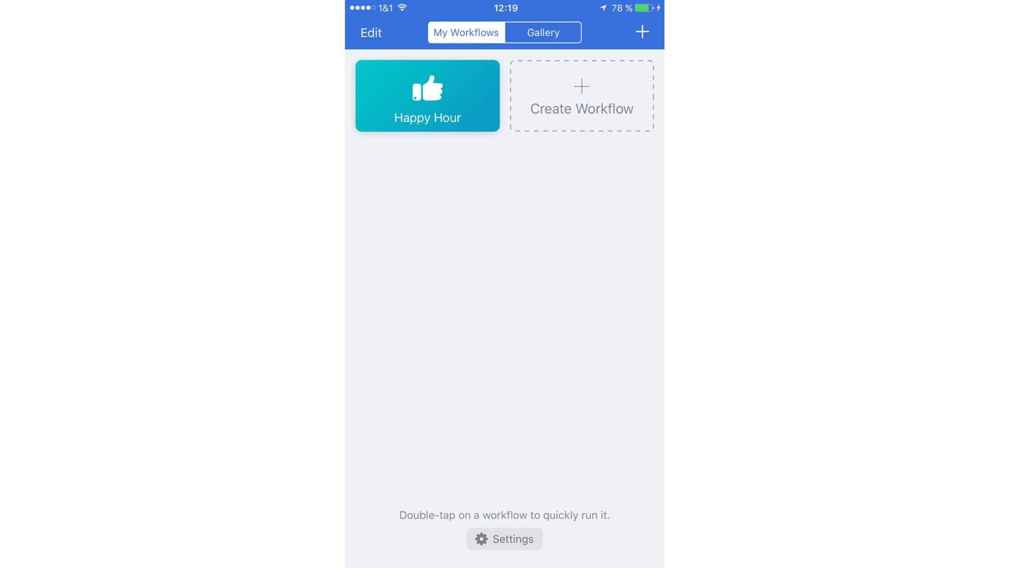 """Mit den zwei Bereichen """"My Workflows"""" und """"Gallery"""" ist die App übersichtlich gehalten."""