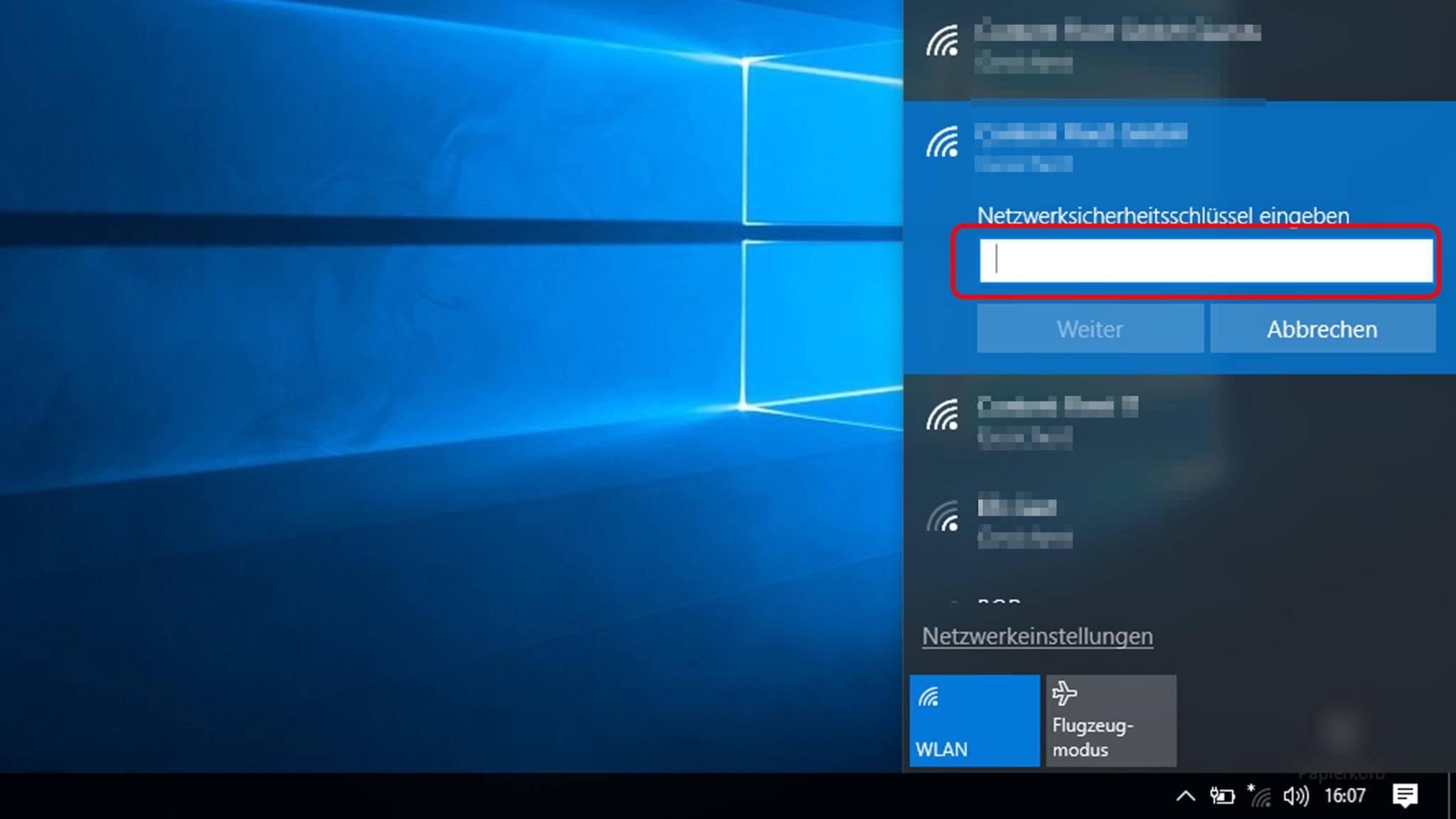 Wenn das Netzwerk verschlüsselt ist, muss ein Passwort eingegeben werden ...