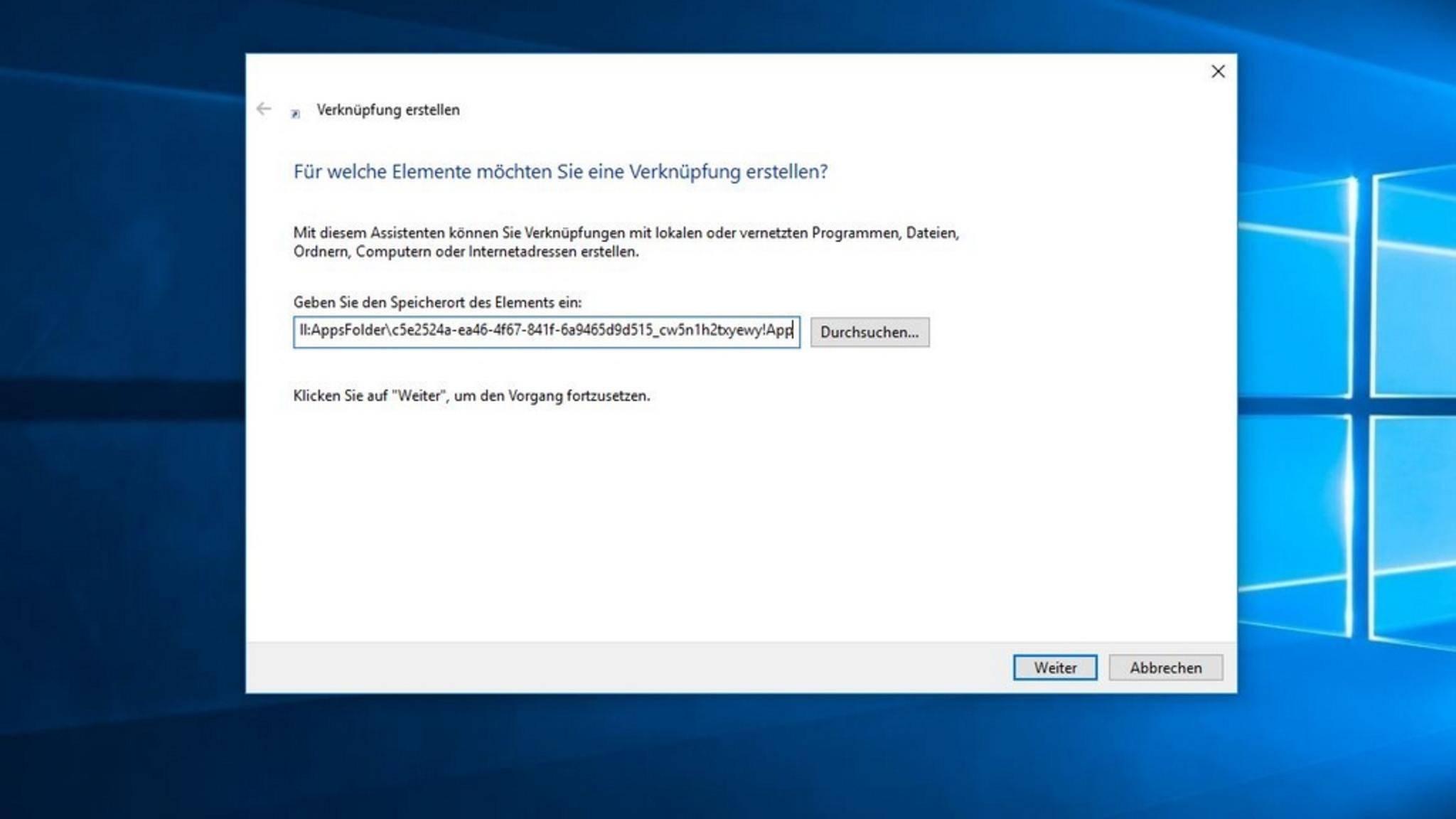 Damit Du den versteckten Explorer nutzen kannst, musst Du eine Verknüpfung mit dem korrekten Dateipfad erstellen.