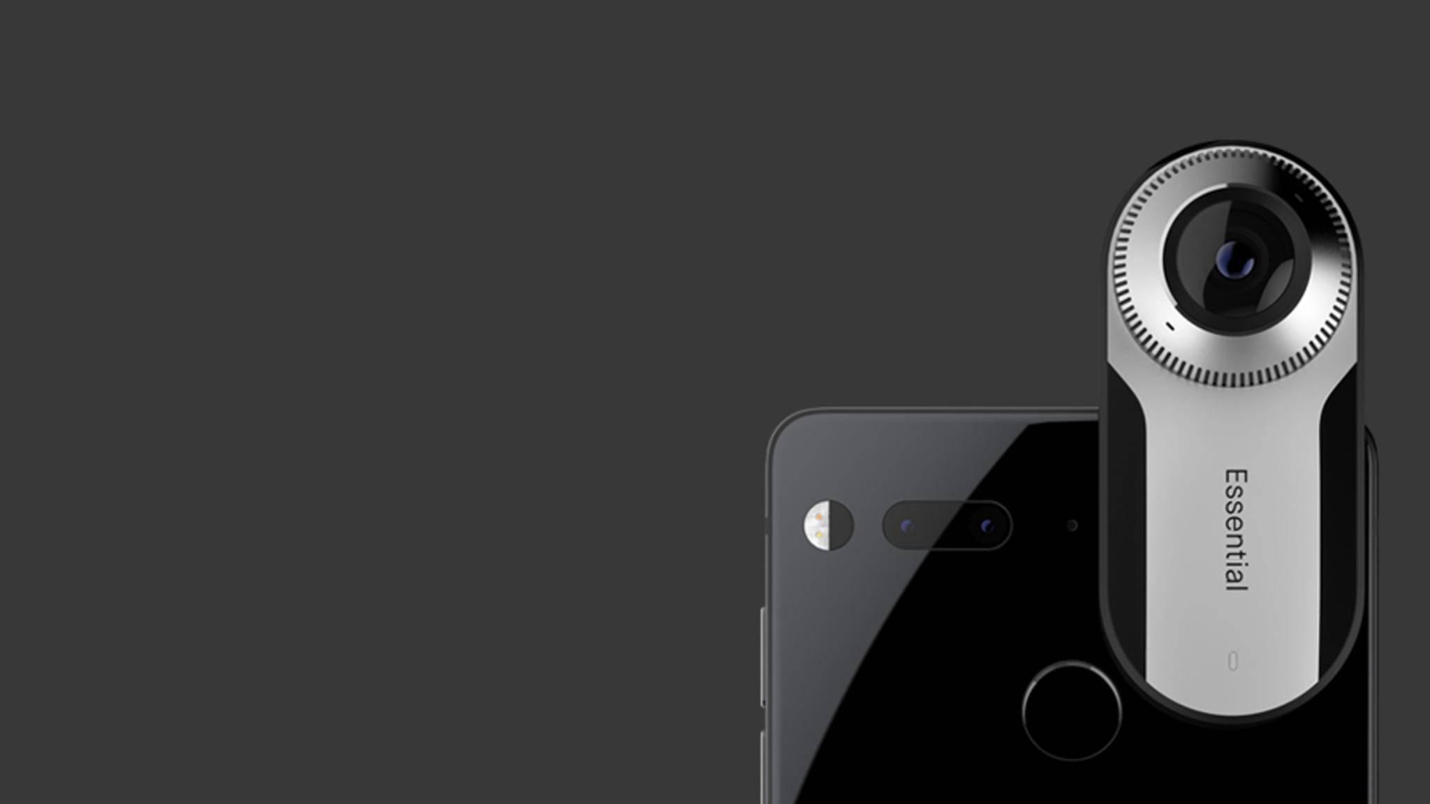 Das Essential Phone kann mit einer 360-Grad-Kamera versehen werden.