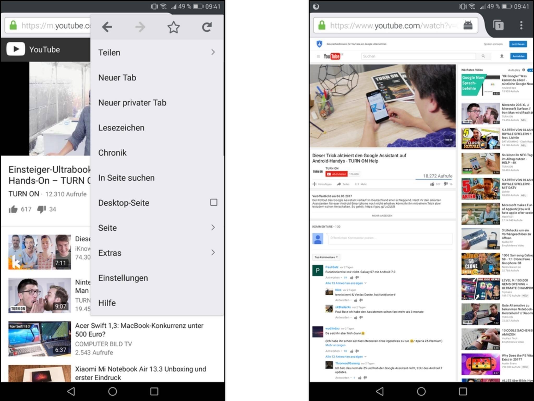Starte YouTube in Firefox und wechsle dann über das Menü zur Desktop-Ansicht, um Videos im Hintergrund abzuspielen.