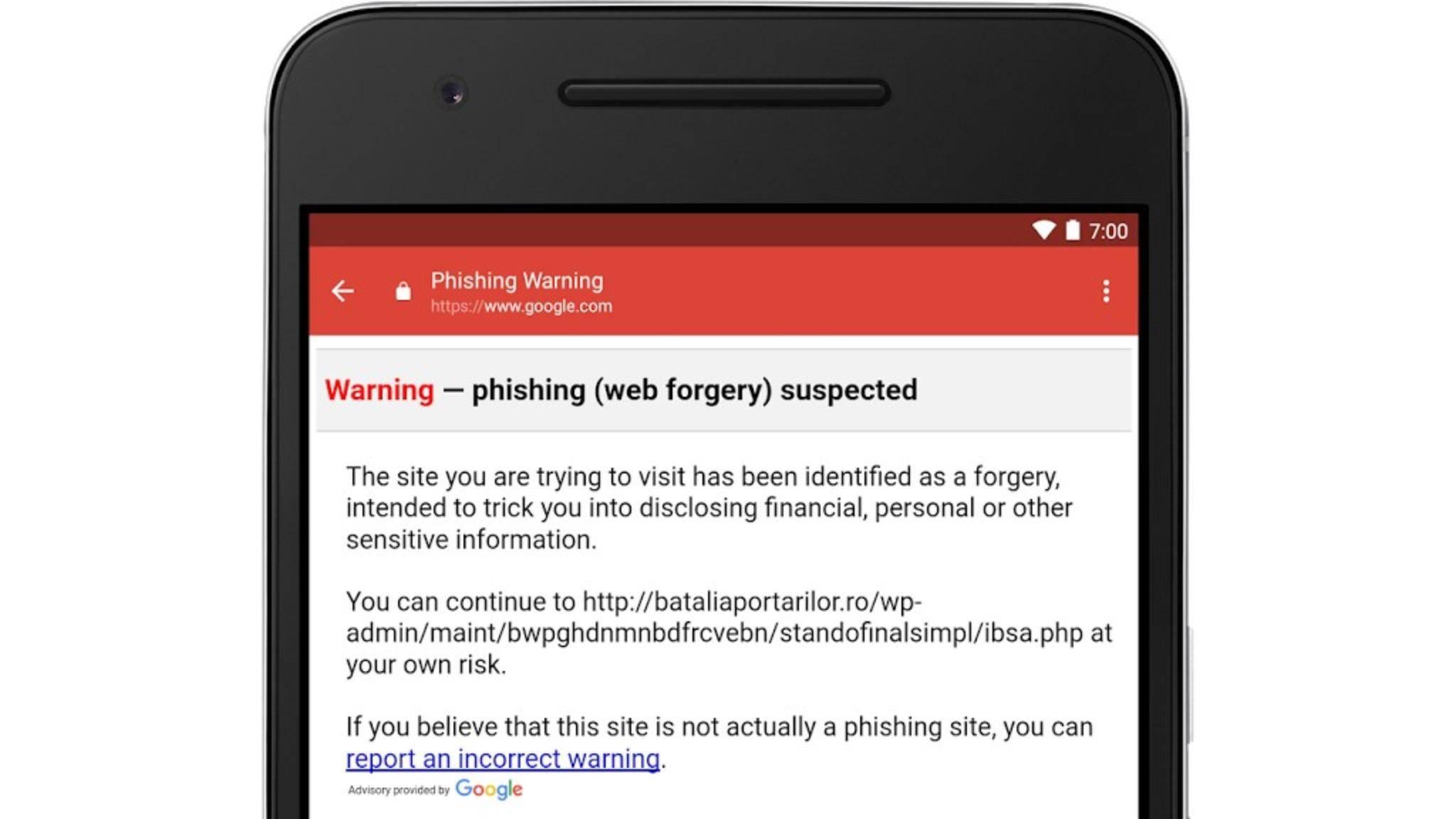 Google warnt nun die Nutzer bei einem Klick auf einen verdächtigen Link in einer E-Mail.