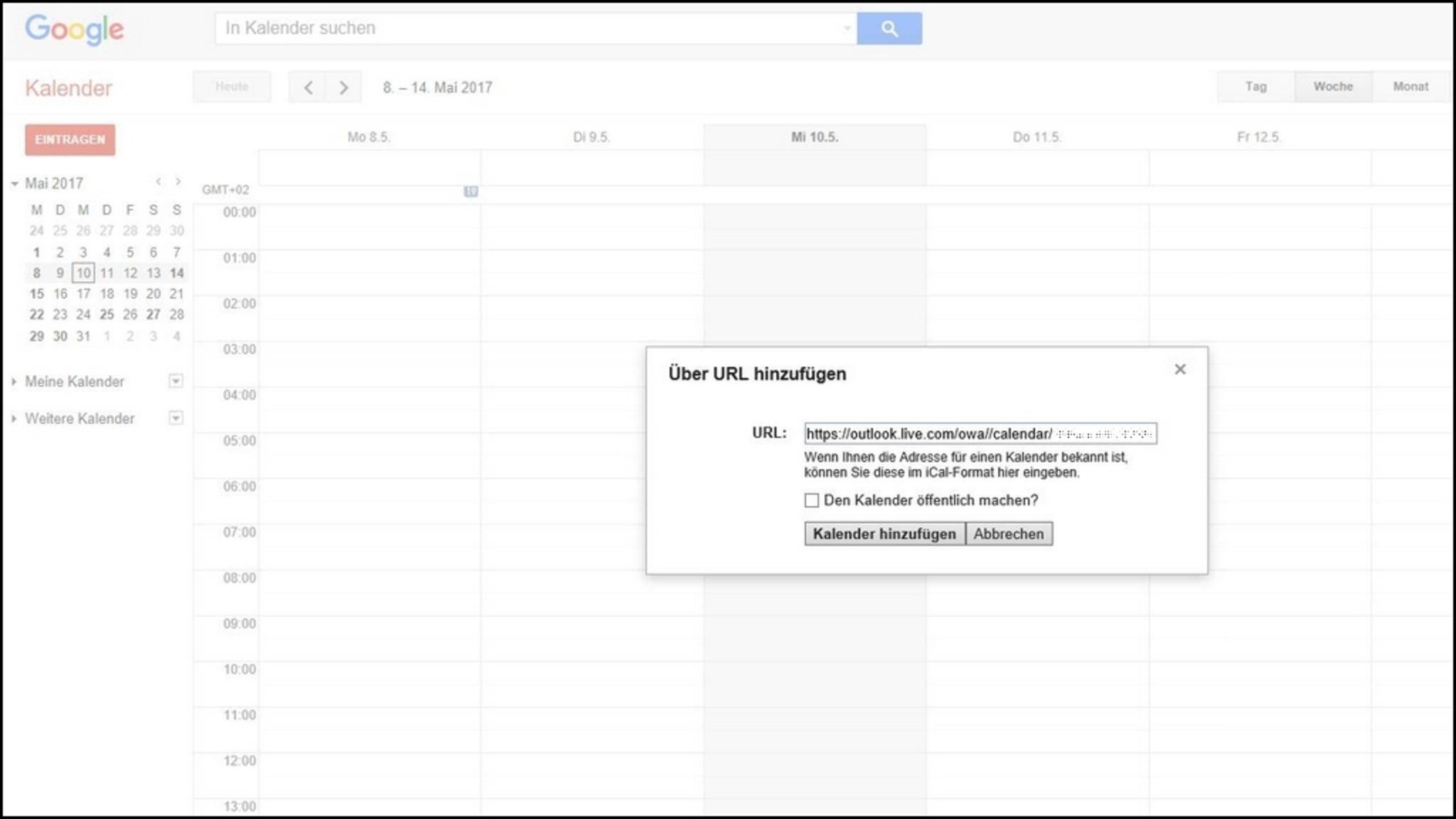 """Das Einfügen im Google-Kalender klappt unter """"Weitere Kalender > Über URL hinzufügen""""."""
