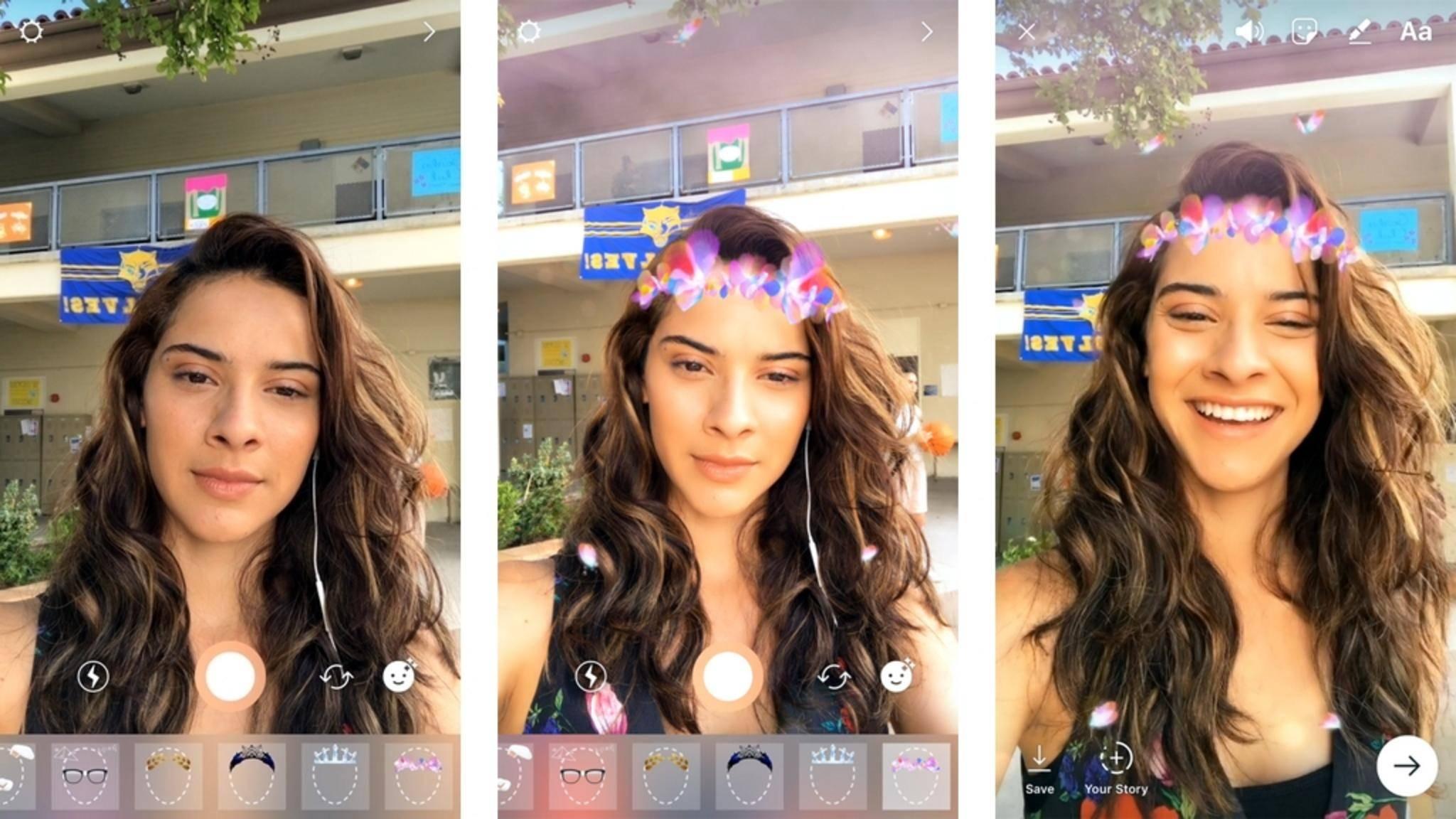Die Selfie-Filter von Instagram erinnern stark an Snapchat.