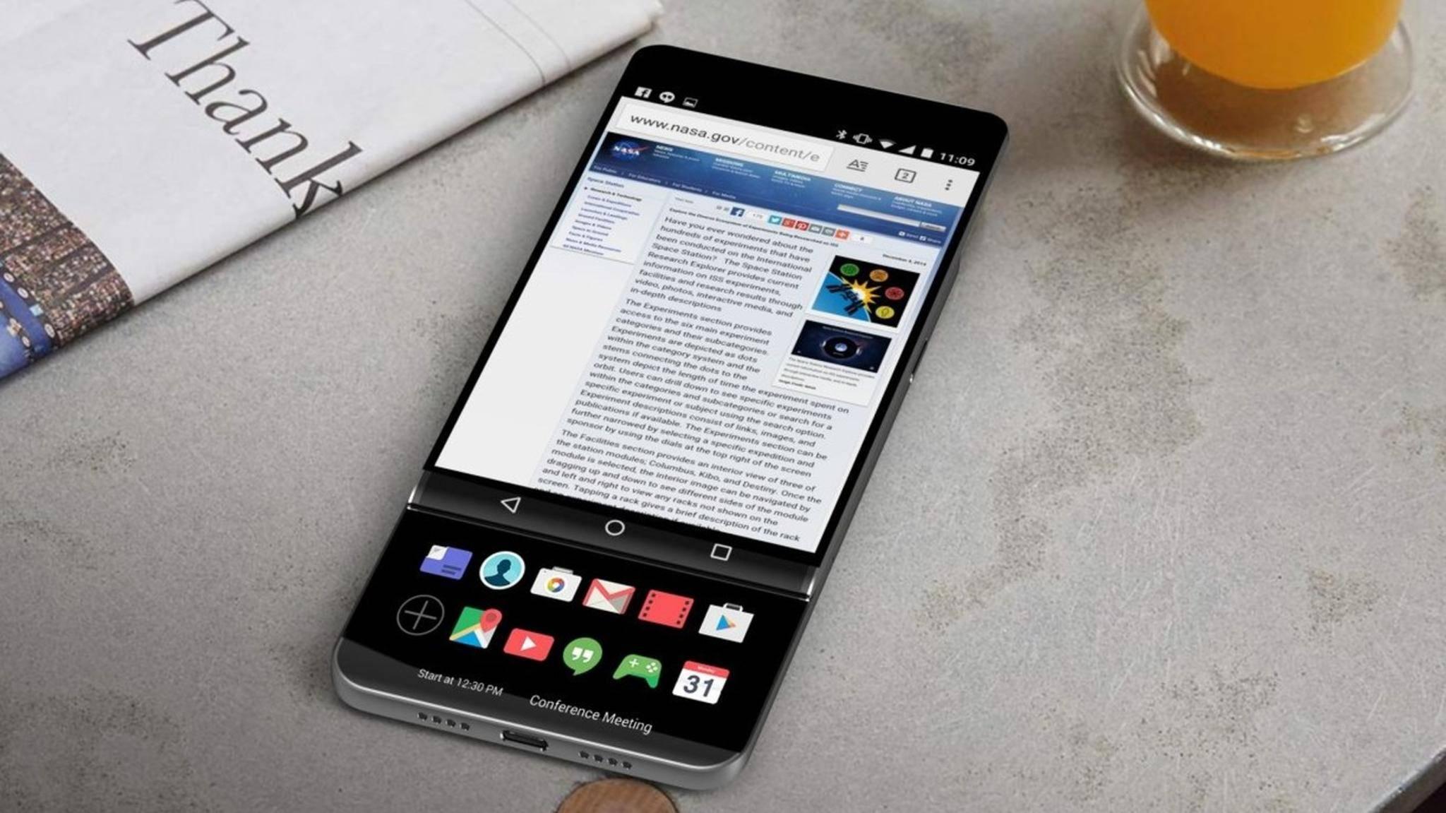 Das LG V30 soll angeblich auf das zweite Ticker-Display verzichten.