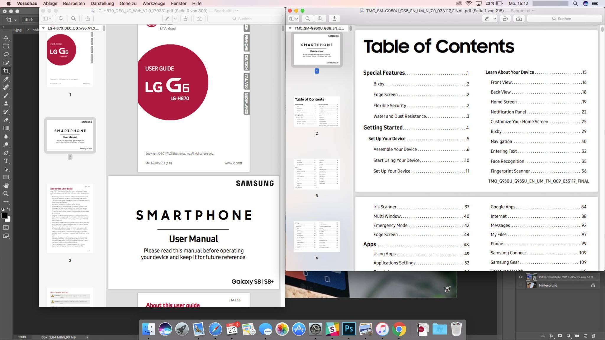 PDF-Seiten können per Drag and Drop von einem Miniatur-Fenster ins andere gezogen werden.
