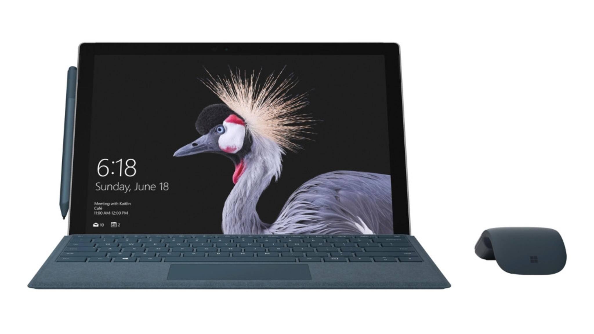 Das neue Surface Pro sieht aus wie das Surface Pro 4, kommt aber mit neuen Farbvarianten für Tastatur und Stift.