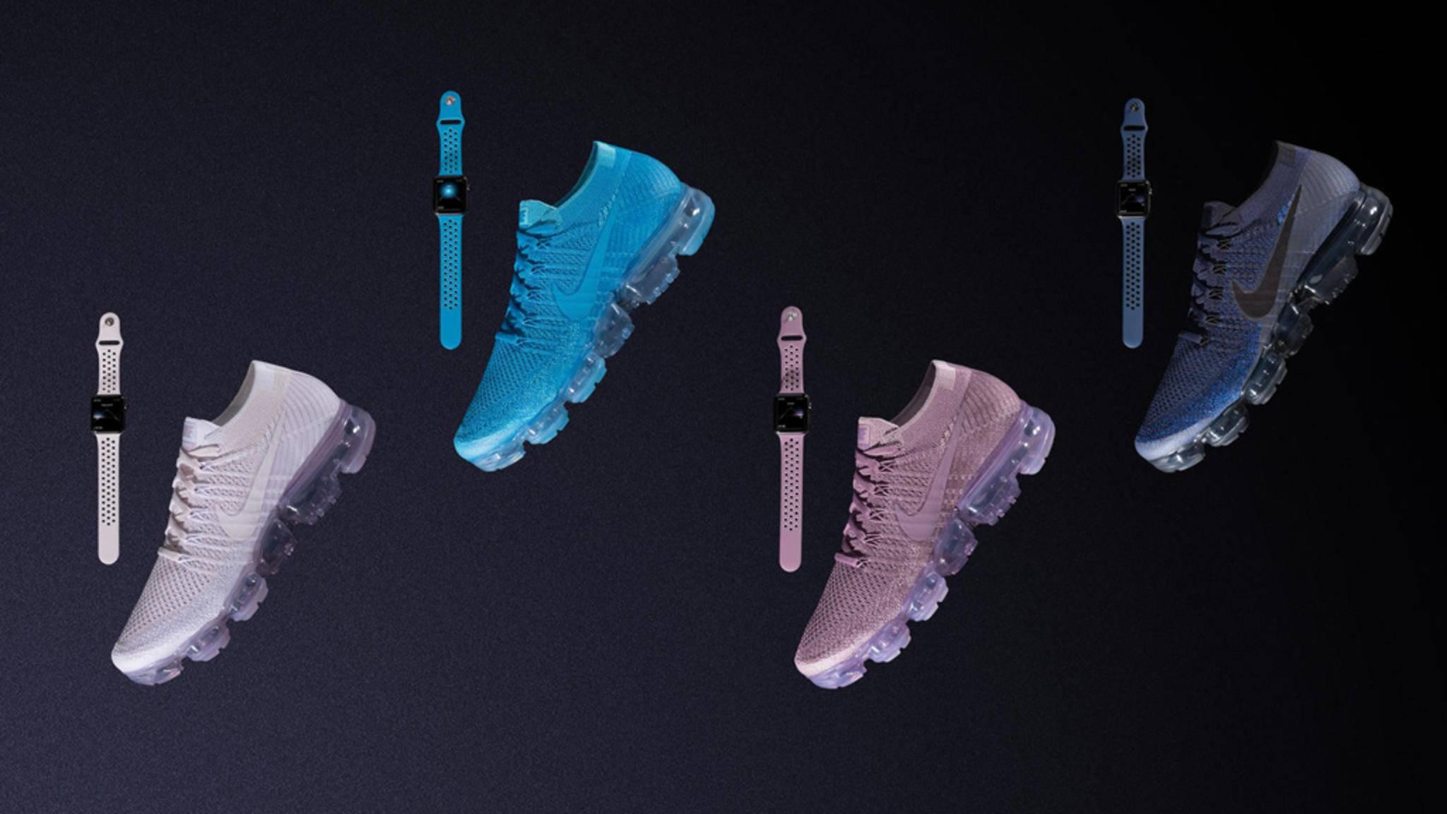 Die Apple Watch-Bänder samt passender Sneaker gibt es ab dem 1. Juni in vier Farben.