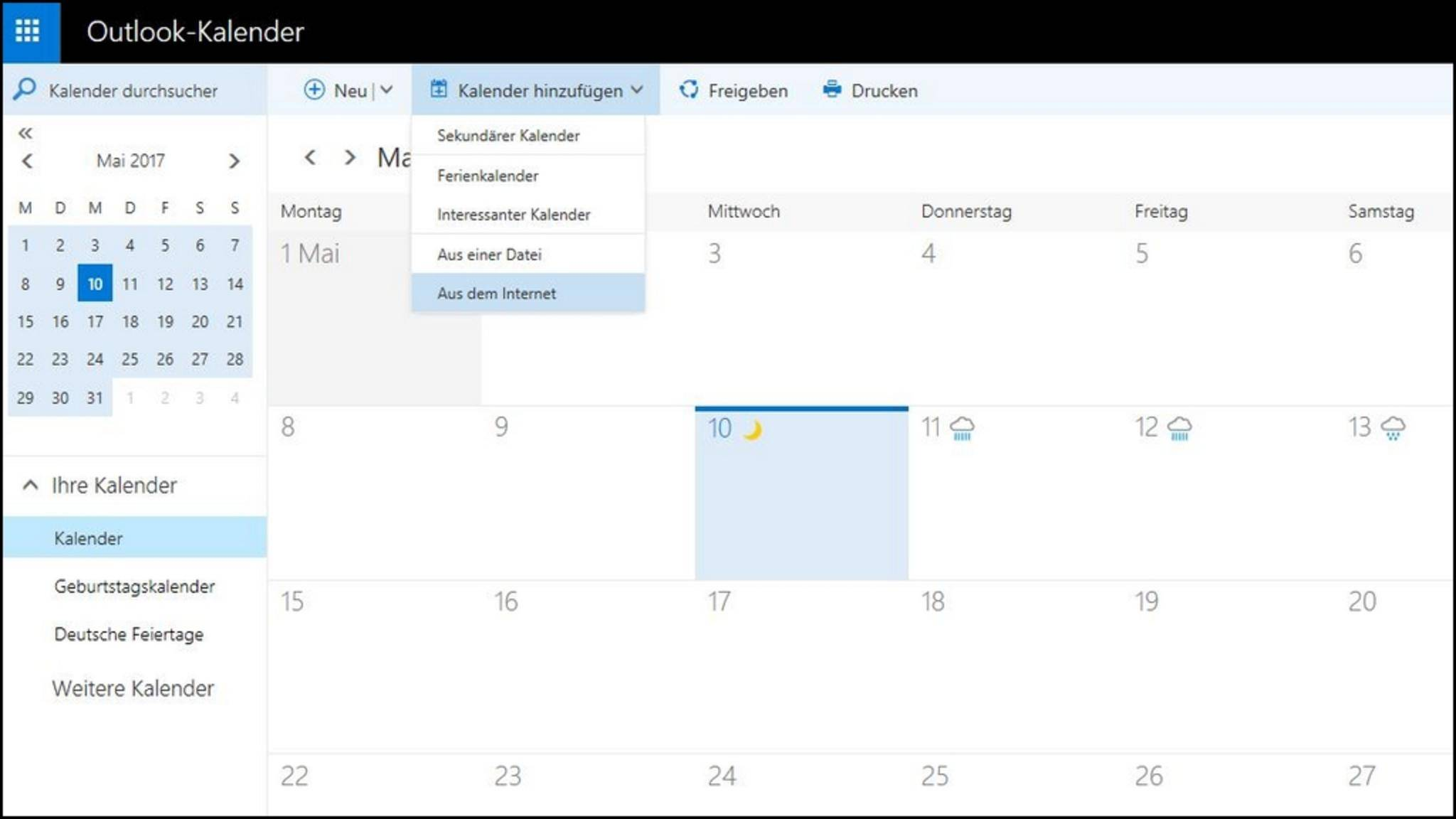 """Füge die kopierte Adresse anschließend über """"Kalender hinzufügen"""" in Outlook ein."""