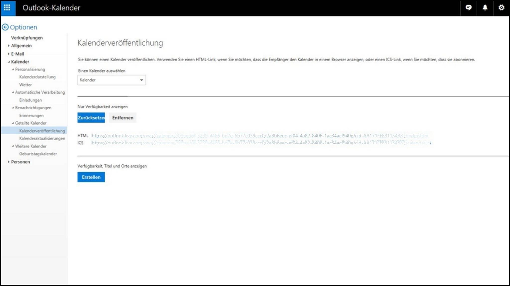 """Unter """"Nur Verfügbarkeit anzeigen"""" bekommst Du die Kalenderadresse Deines Outlook-Kalenders."""