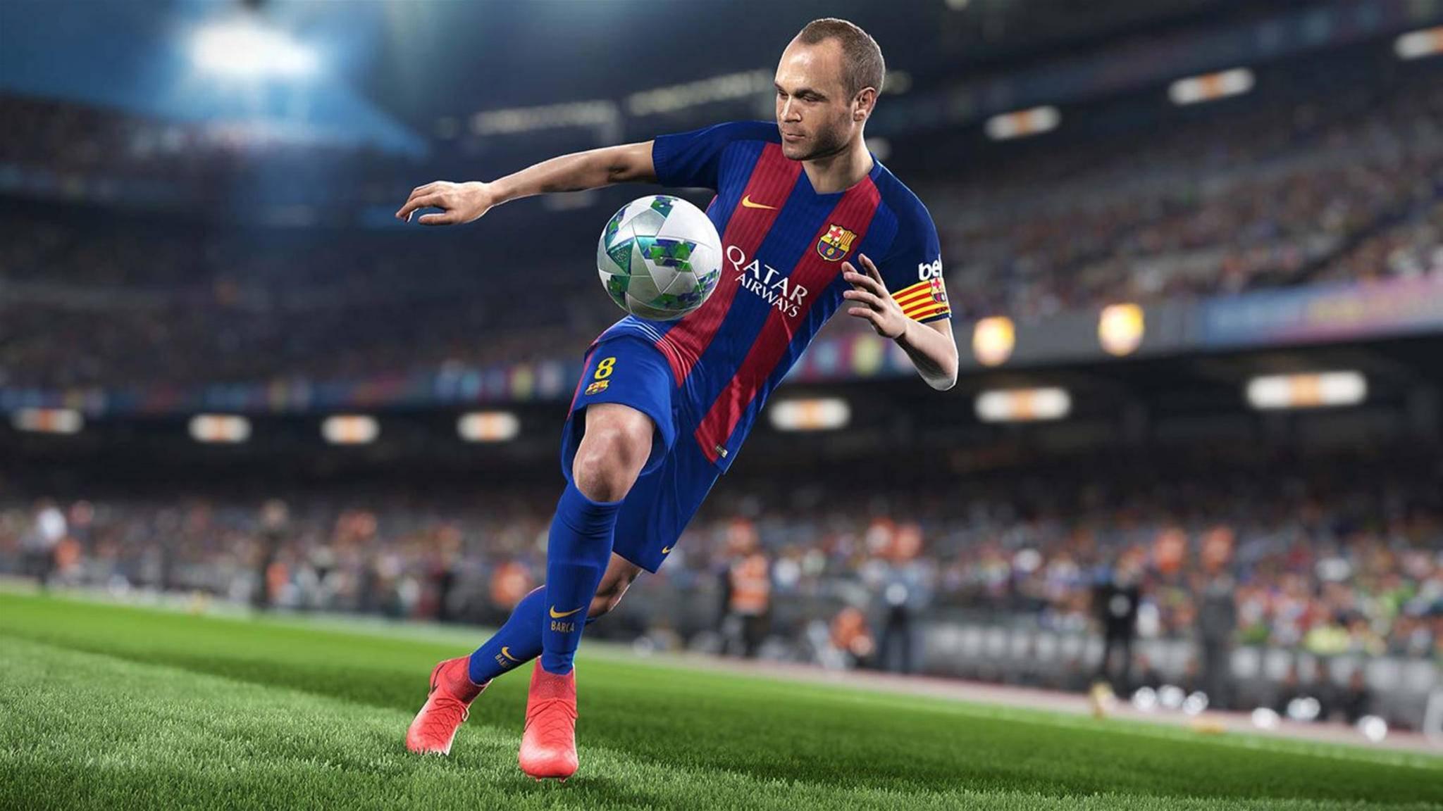 """""""Pro Evolution Soccer 2018"""": Konami wirbt mit Andrés Iniesta und den Stars des FC Barcelona."""