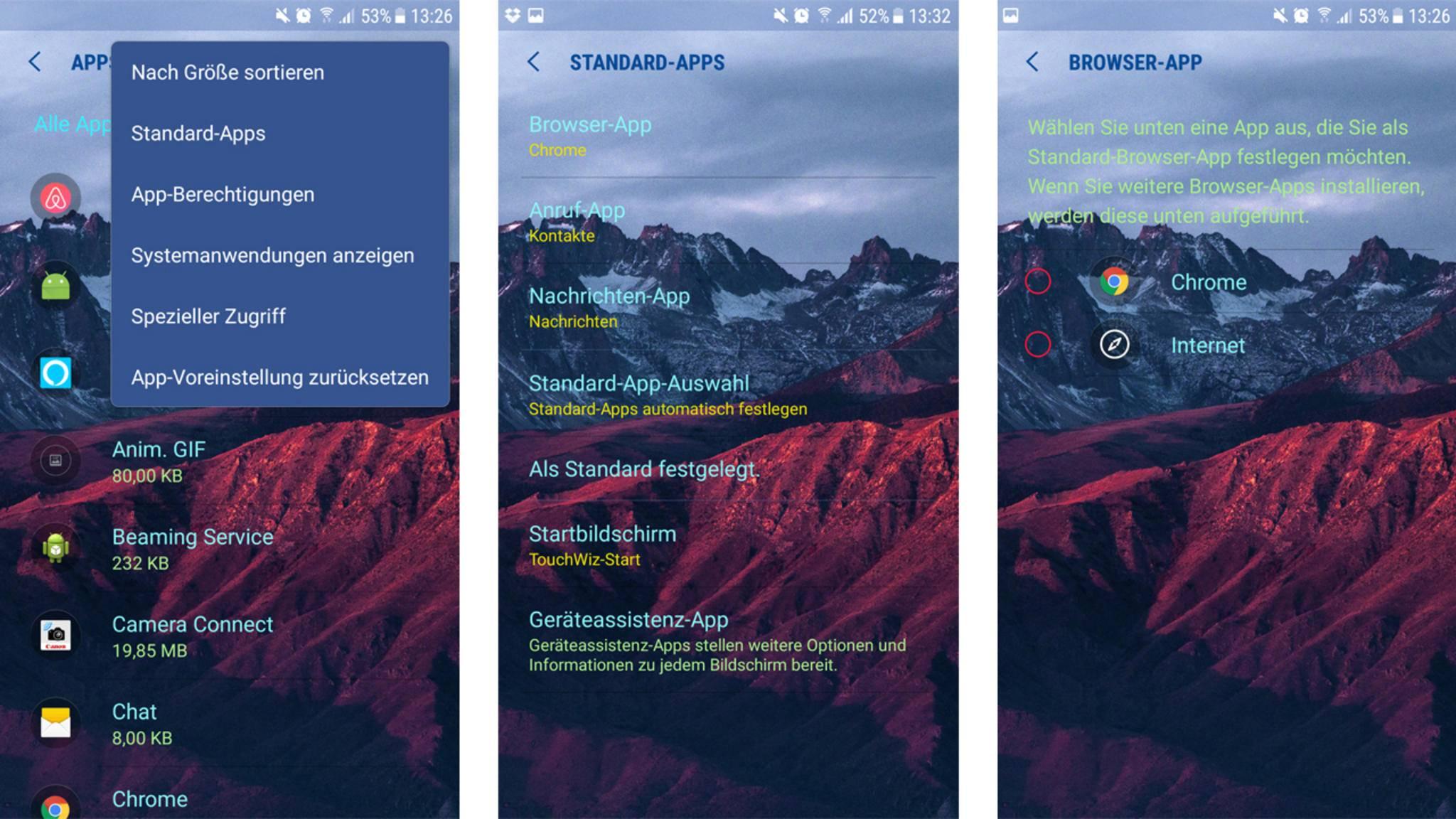 In der Übersicht aller Standard-Apps lassen sich auch einzelne Standards verändern, zum Beispiel für den Browser.