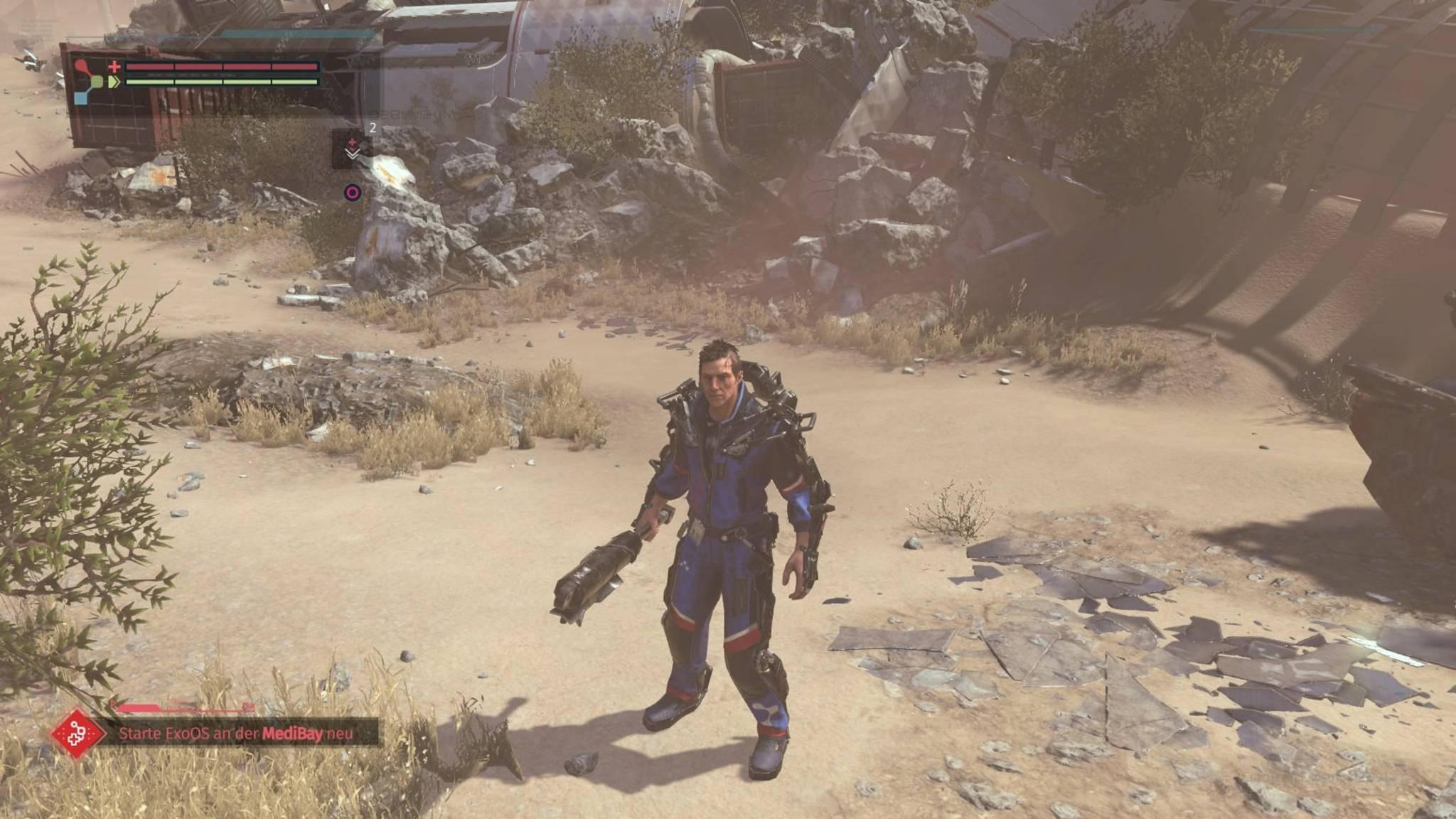 Anfangs startet Warren mit absoluter Cyborg-Grundausstattung.