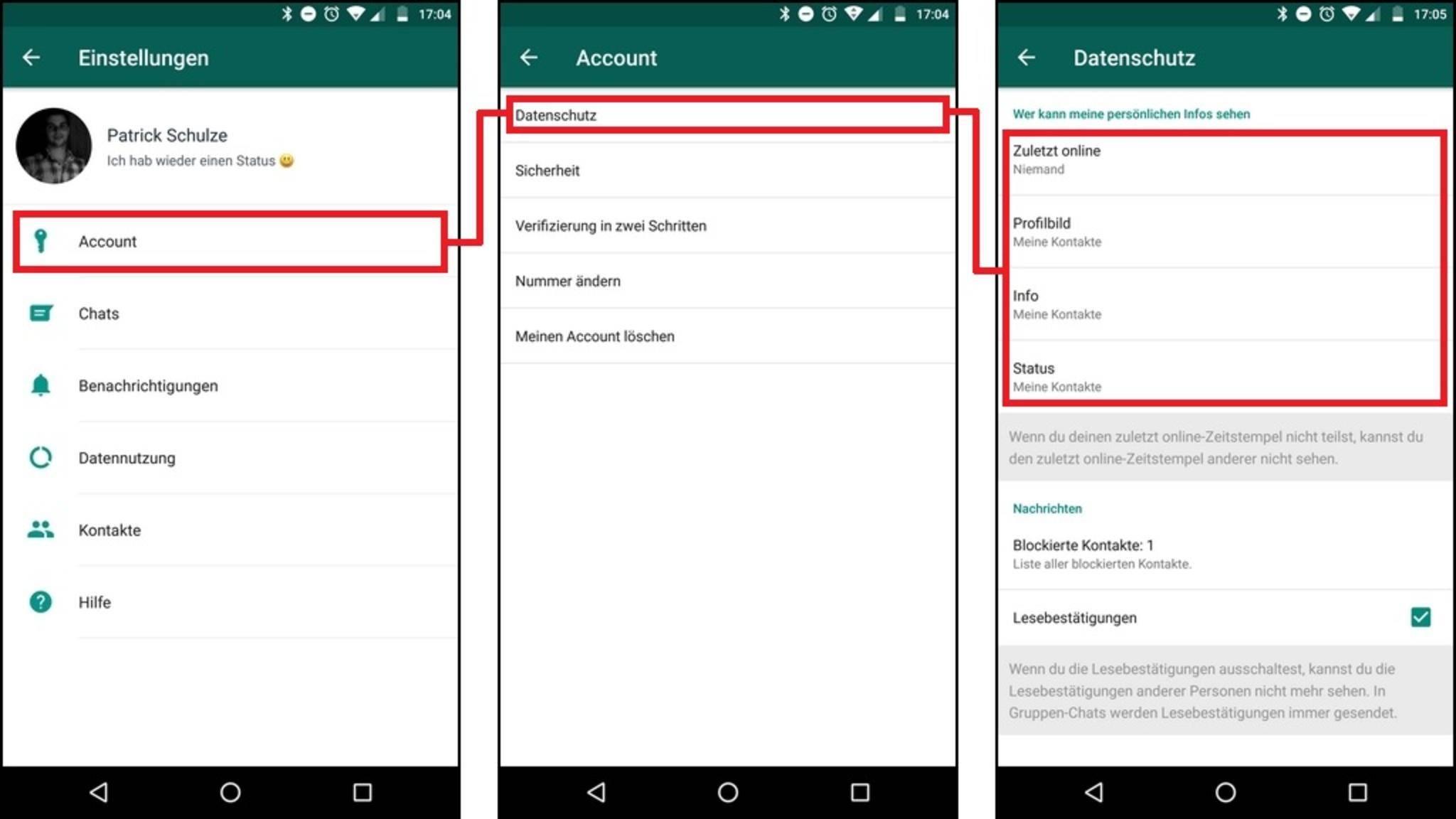 In den Einstellungen von WhatsApp kannst Du Deine Privatsphäre schützen.