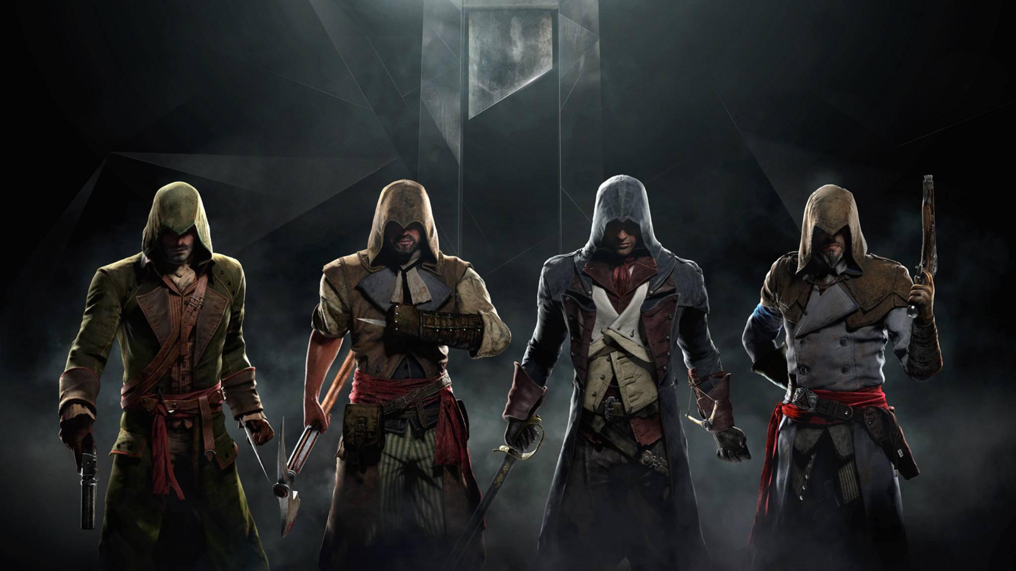 Der Look der Assassinen: Die Attentäter im Hintergrund verbergen ihre Gesichter.