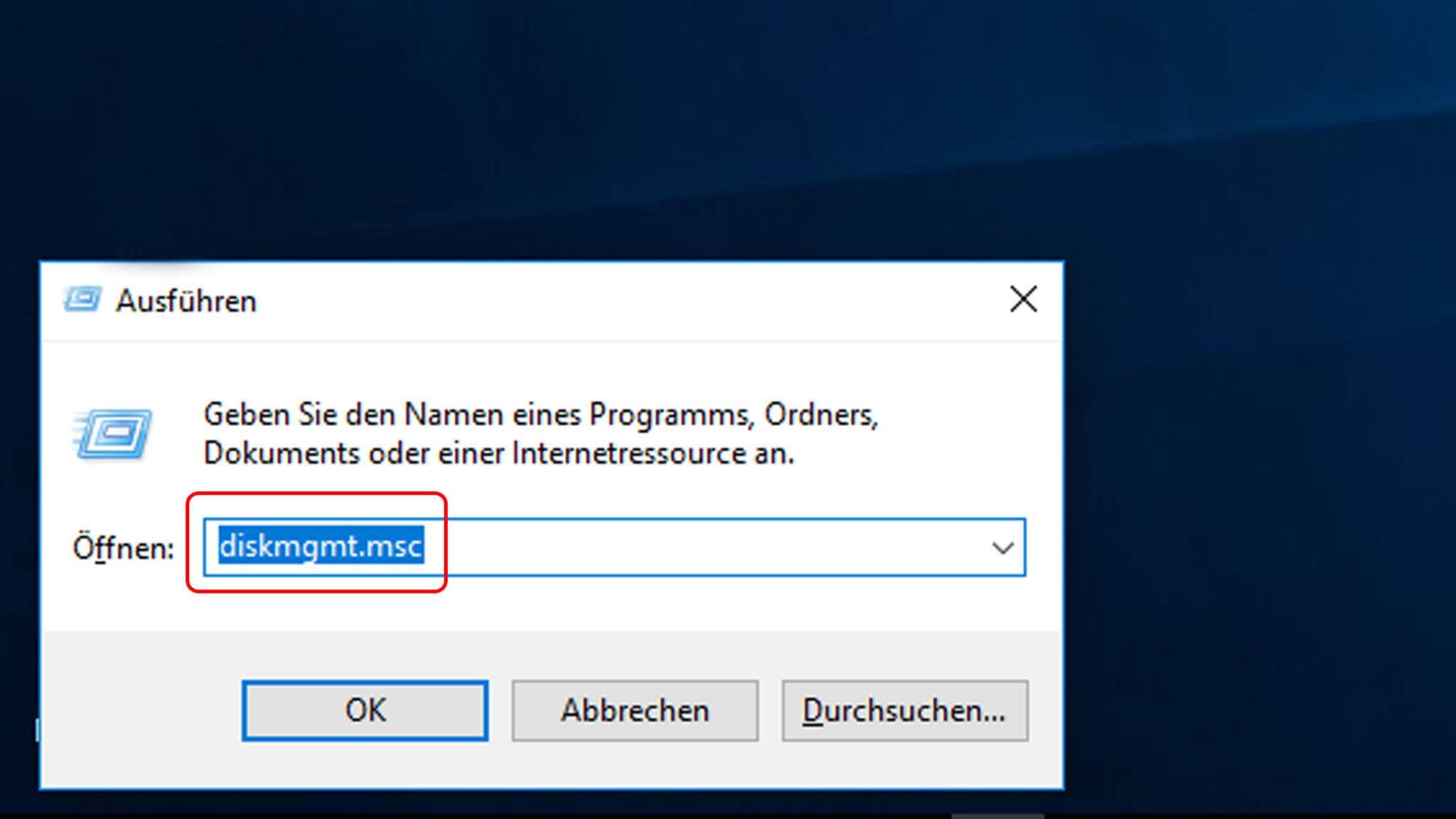 """Um die Datenträgerverwaltung zu öffnen, drücke """"Windows + R"""", tippe dann """"diskmgmt.msc"""" ein und klicke auf OK."""