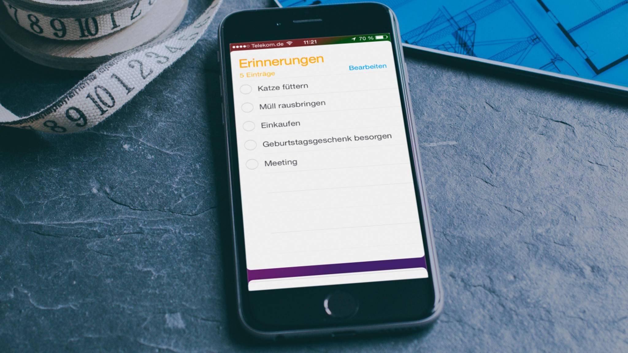 Dank der iPhone-App Erinnerungen musst Du Dir selber nicht mehr so viel merken.