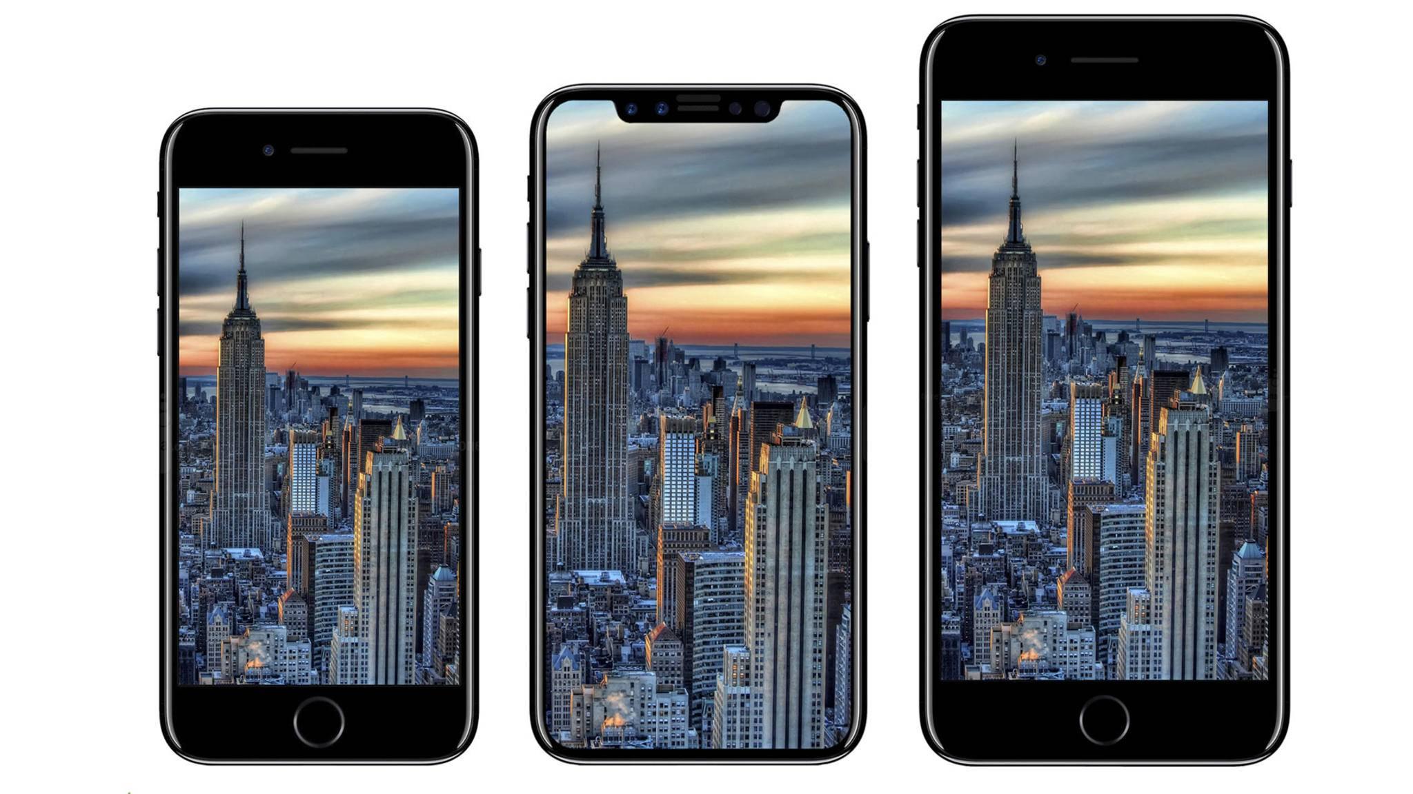 Das Objekt der Begierde, das eine lange Urlaubssperre für zahlreiche Apple-Mitarbeiter bedeutet: Das iPhone 8 als Render (Mitte).
