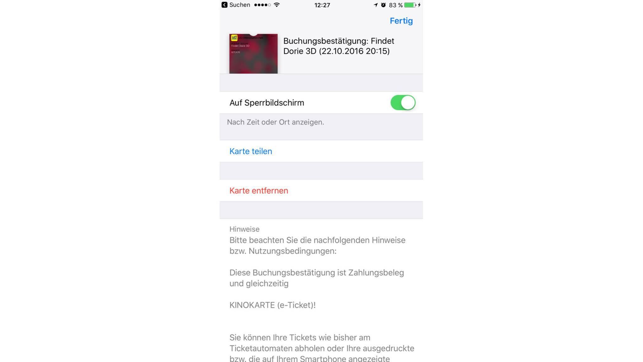 Tippst Du auf eine Karte innerhalb der App, kannst Du diese entfernen oder auch teilen.